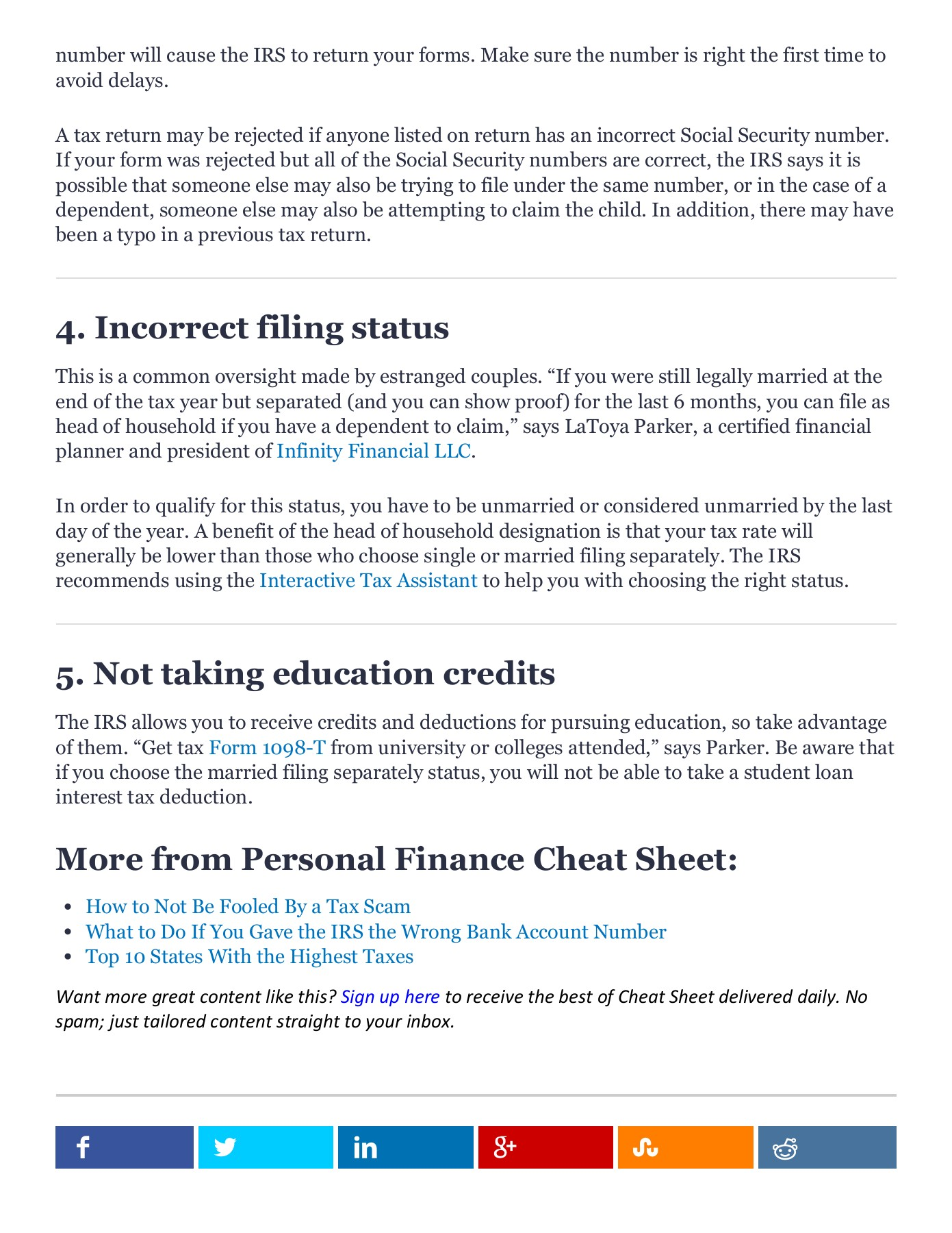 HOME / PERSONAL FINANCE / 5 Common Tax Blunders to Avoid