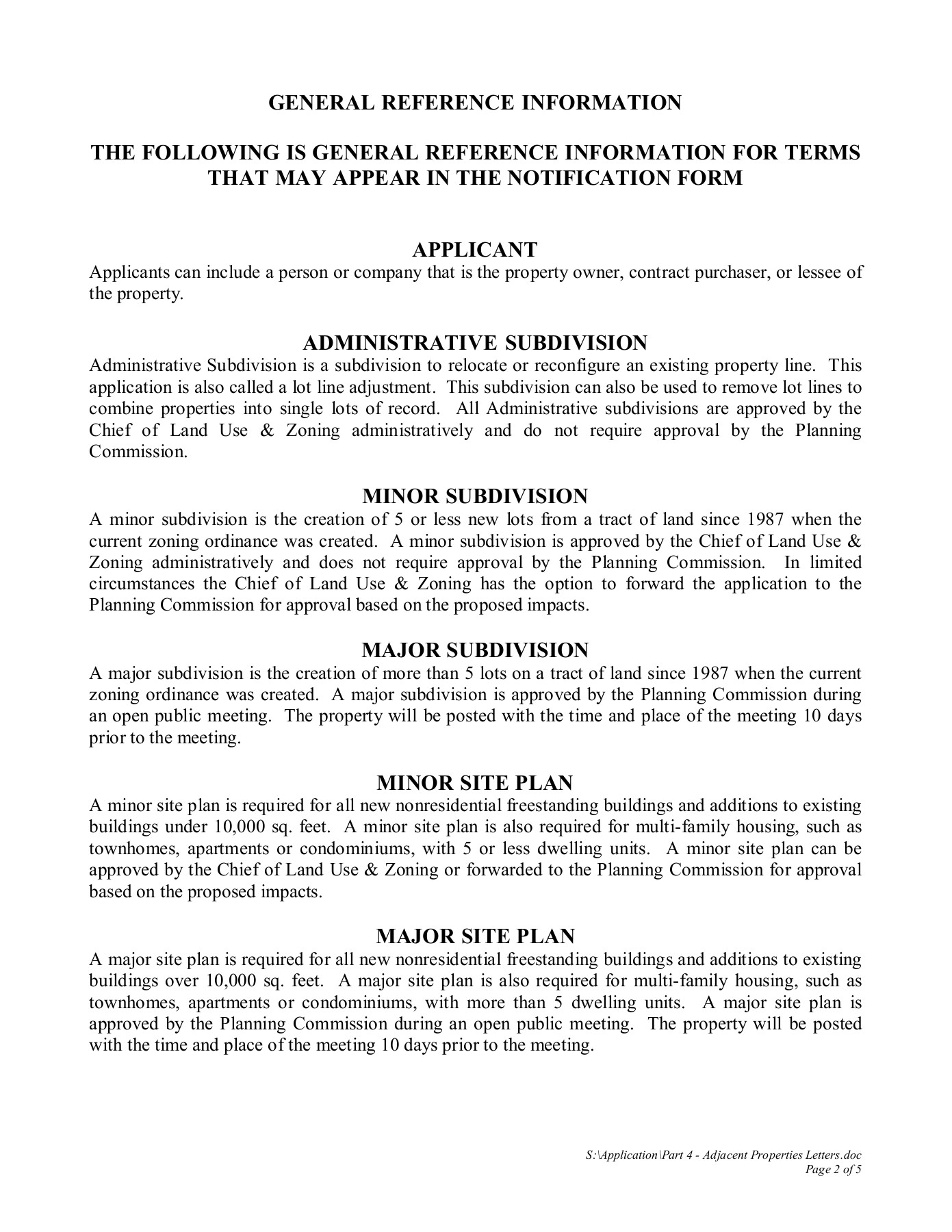 NOTIFICATION FORM TO ADJACENT PROPERTY OWNERS