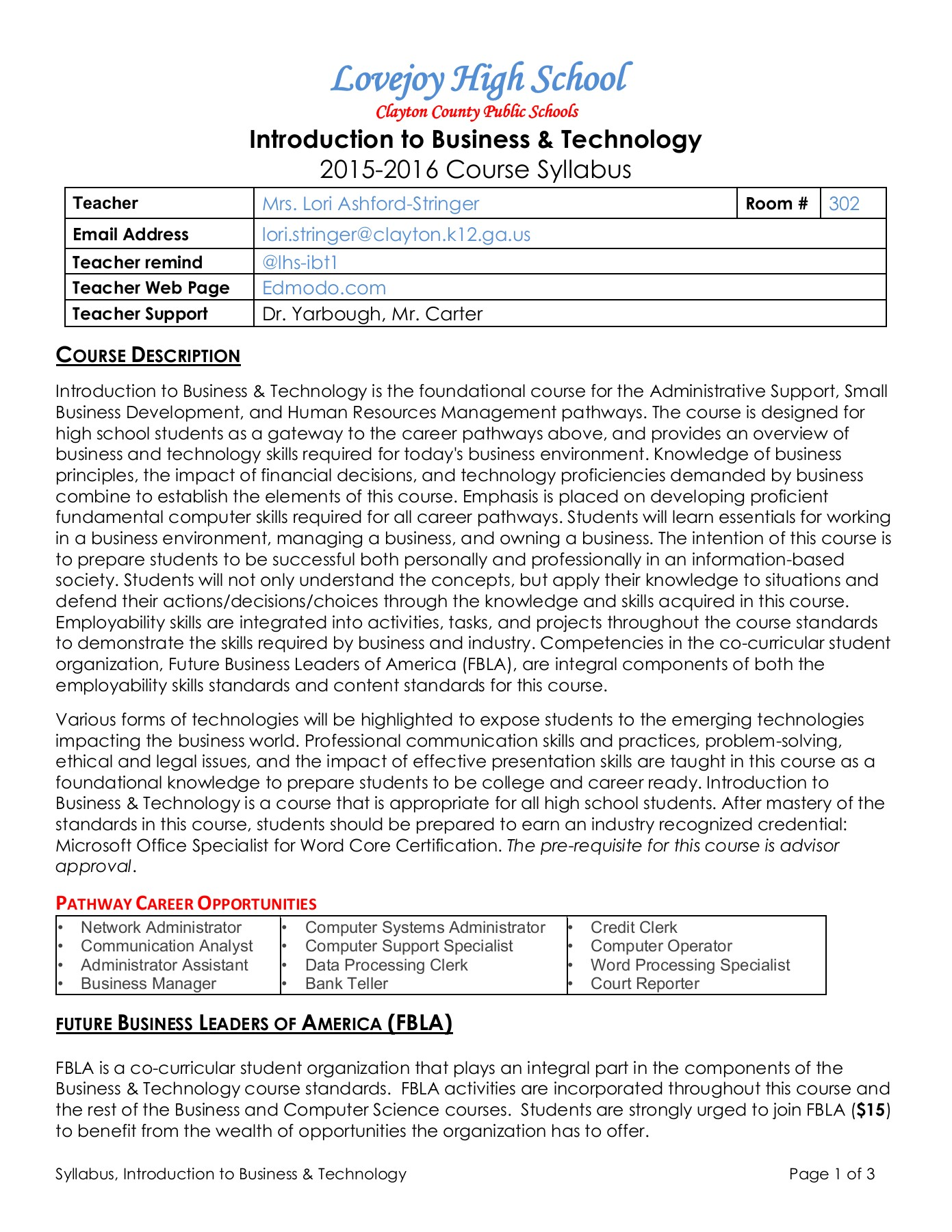 Intro to Business Technology Syllabus 2015-2016 Pages 1 - 3