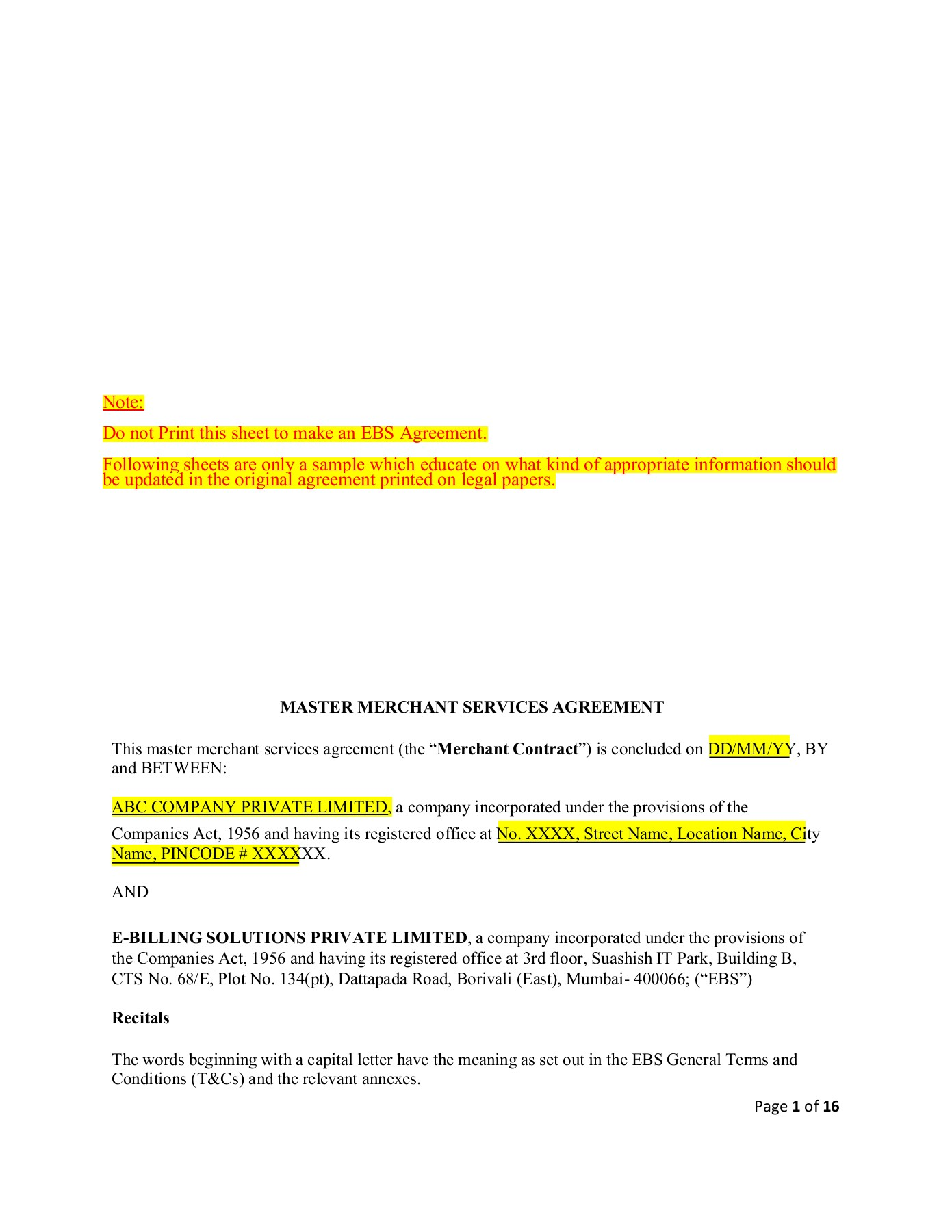 Sample Ebs Agreement Pages 1 16 Text Version Anyflip