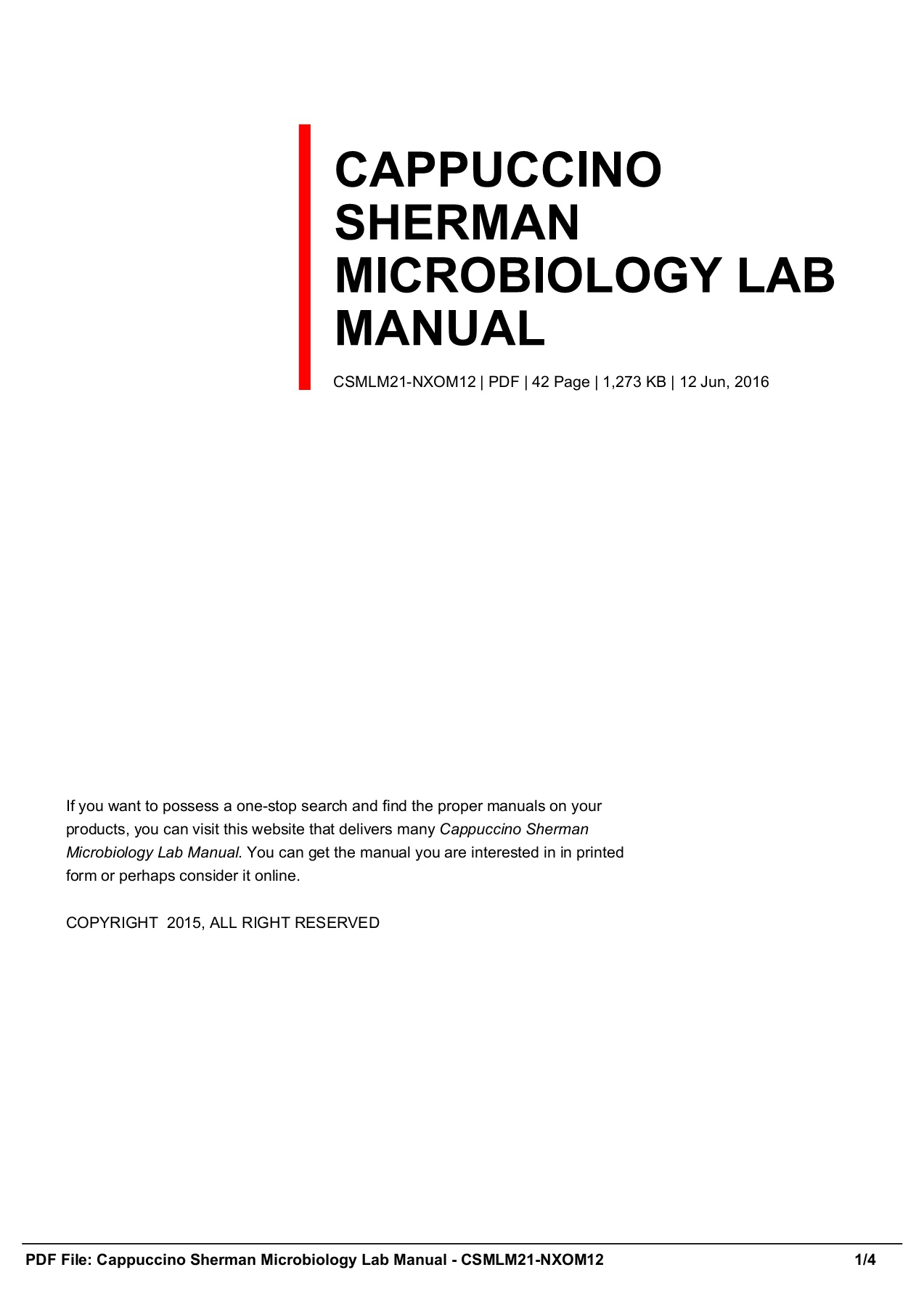 CAPPUCCINO SHERMAN MICROBIOLOGY LAB MANUAL CSMLM21-NXOM12 Pages 1