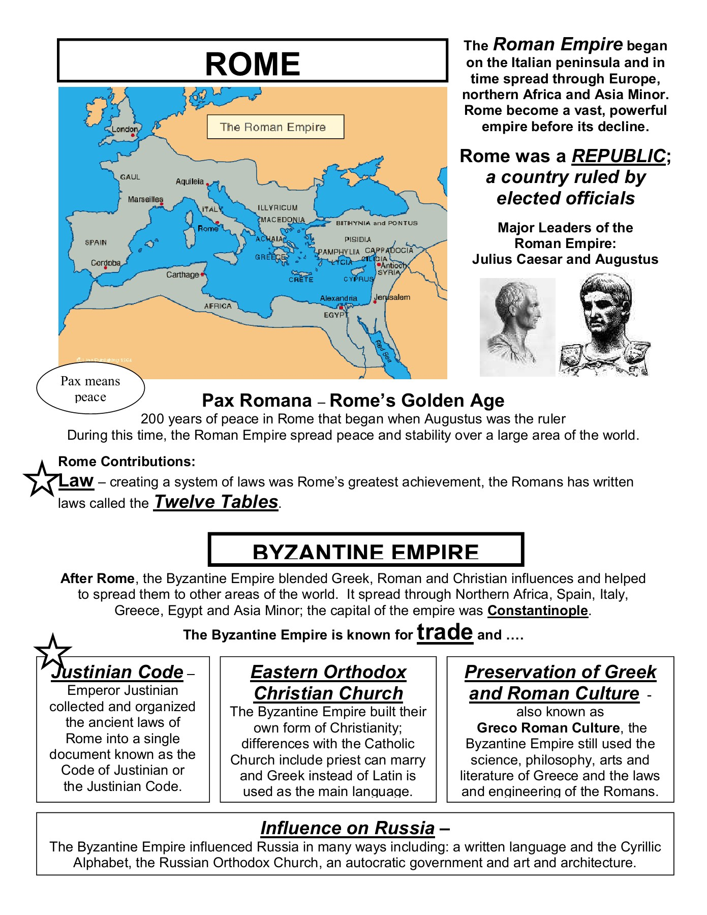Greece, Rome, Byzantine Empire Review Packet Pages 1 - 8 - Text