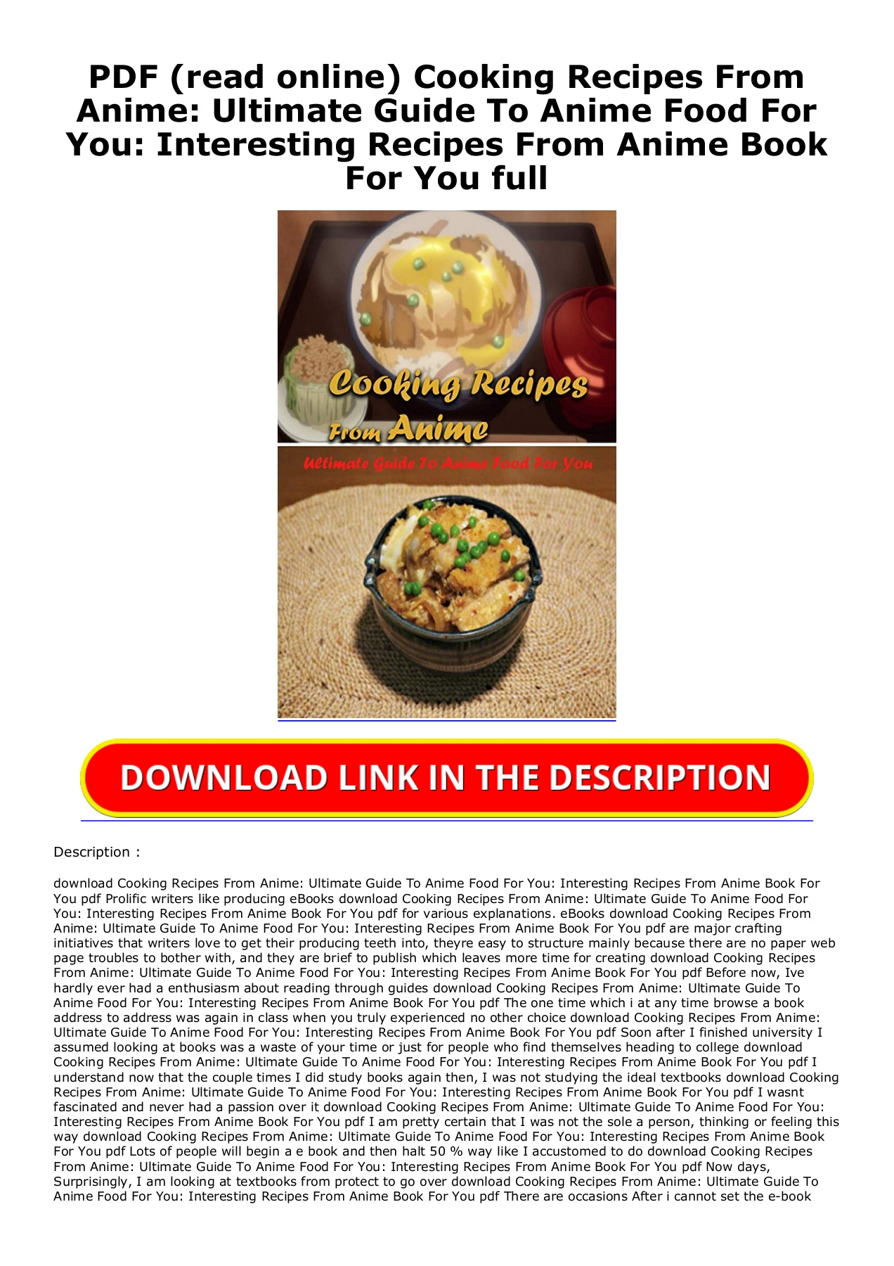 Pdf Read Online Cooking Recipes From Anime Ultimate Guide To Anime Food For You Interesting Recipes From Anime Book For You Full