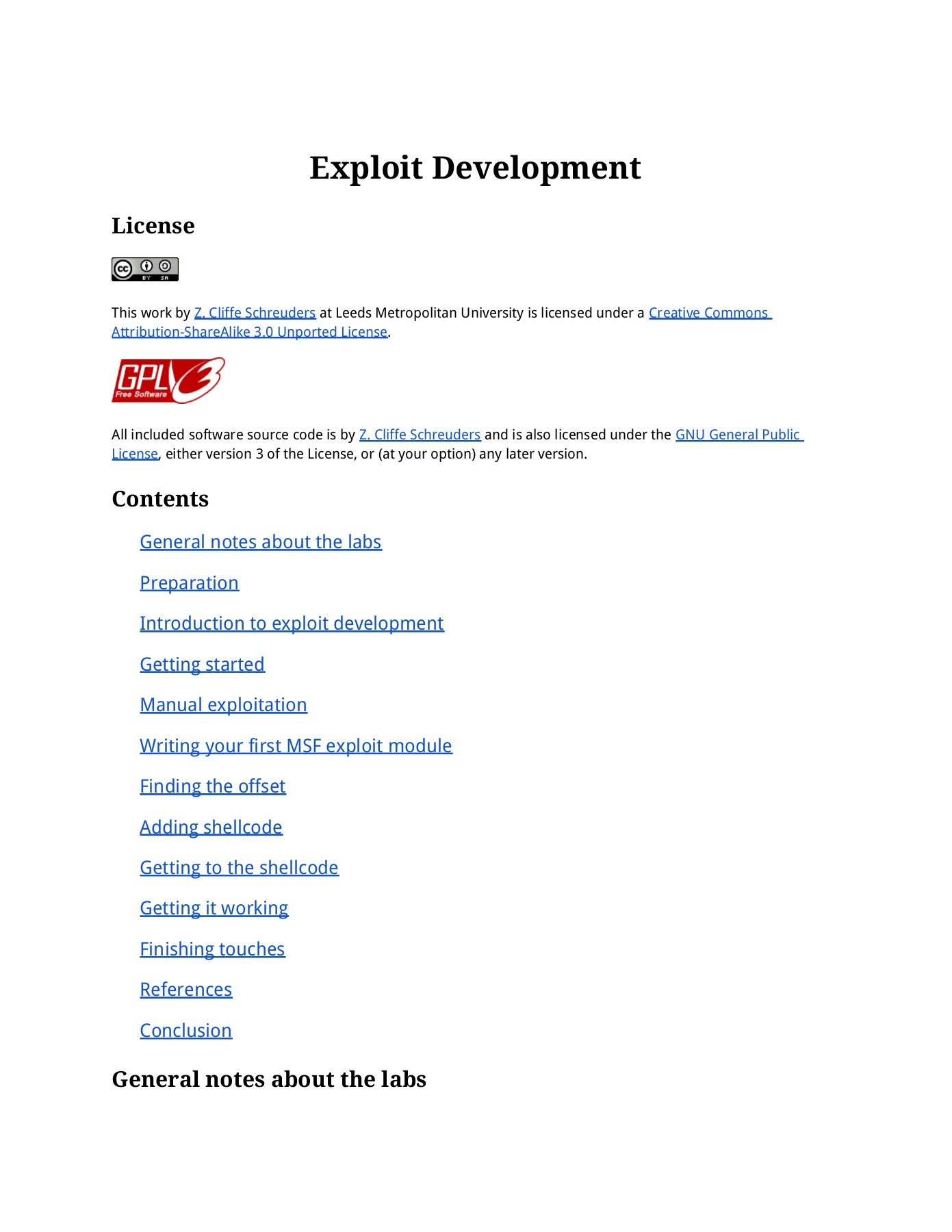 Exploit Development - Z  Cliffe Schreuders Pages 1 - 18 - Text