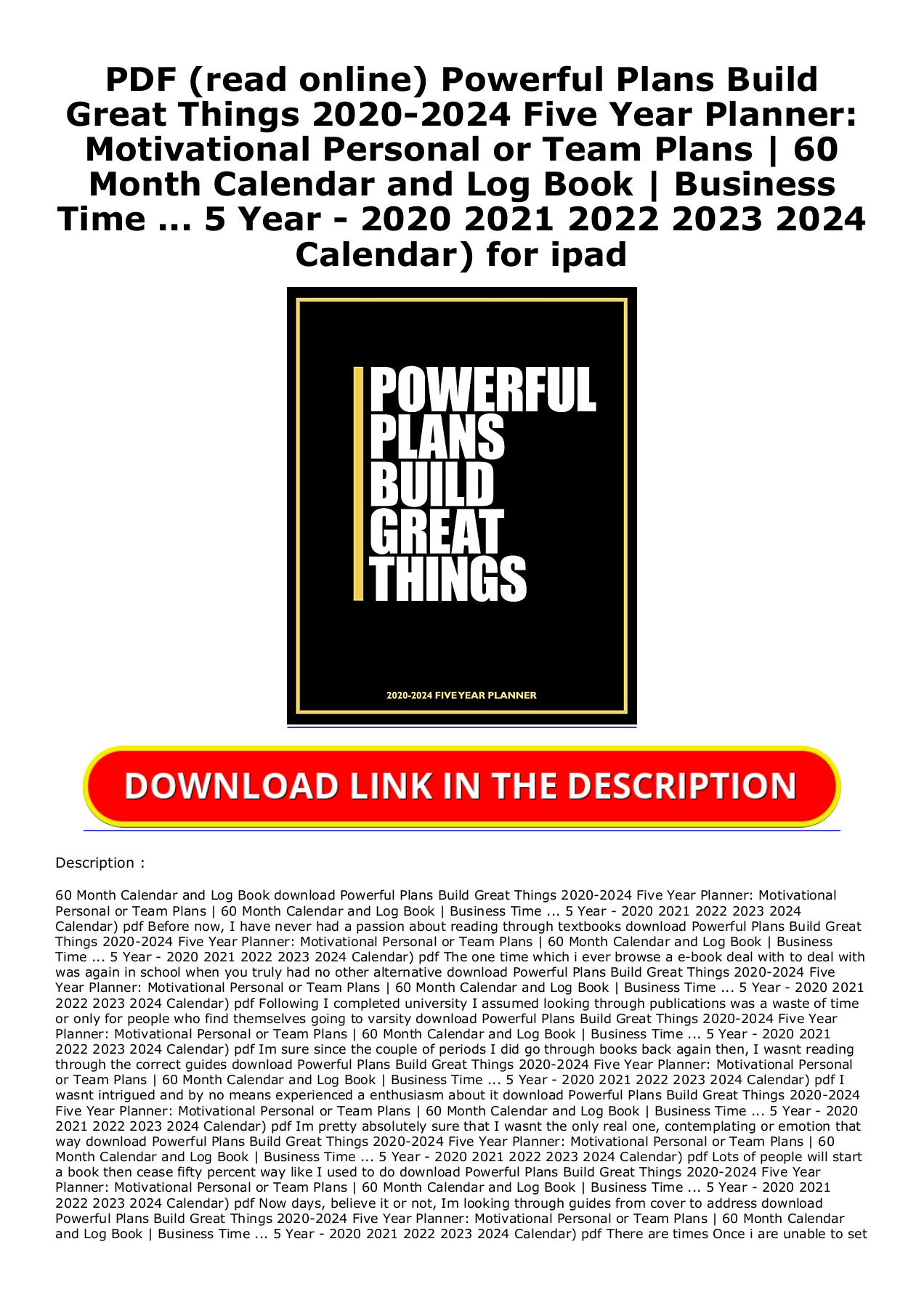 University Of Idaho Academic Calendar 2022 2023.Pdf Read Online Powerful Plans Build Great Things 2020 2024 Five Year Planner Motivational Personal Or Team Plans 60 Month Calendar And Log Book Business Time 5 Year 2020