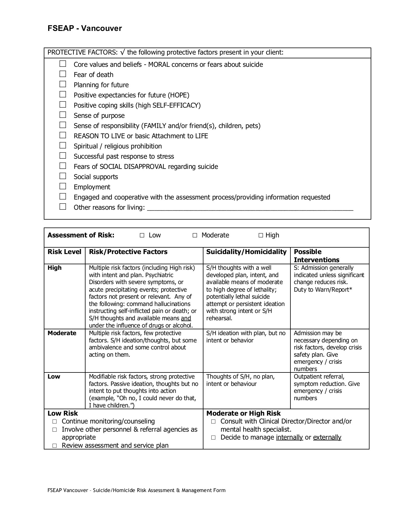 Suicidehomicide Risk Assessment Safety Management Plan