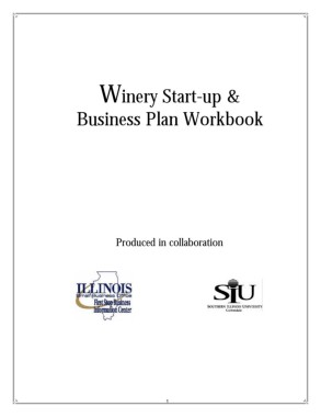 winery startup and business plan workbook