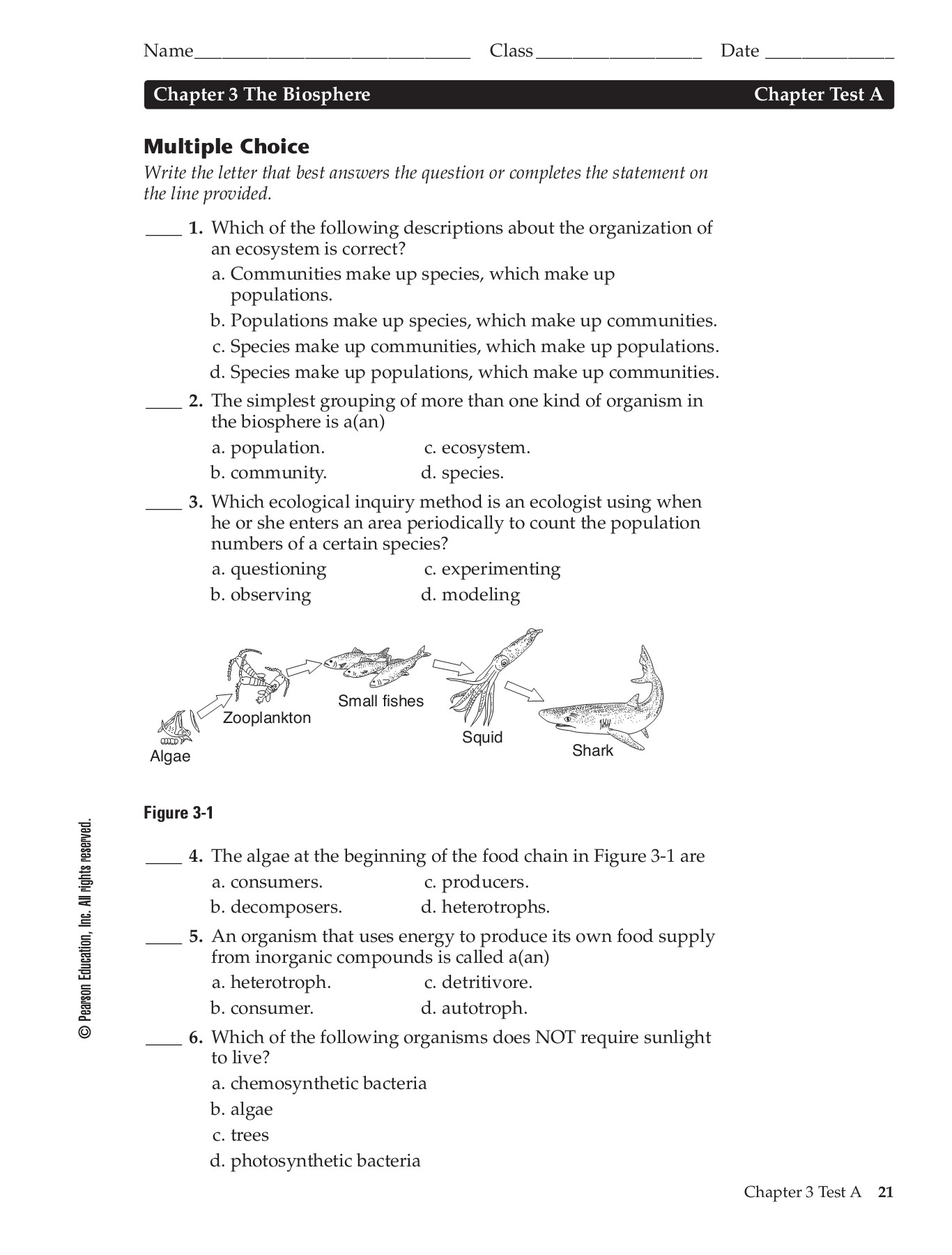 Chapter 3 (The Biosphere) Test A - DiBiasioScience