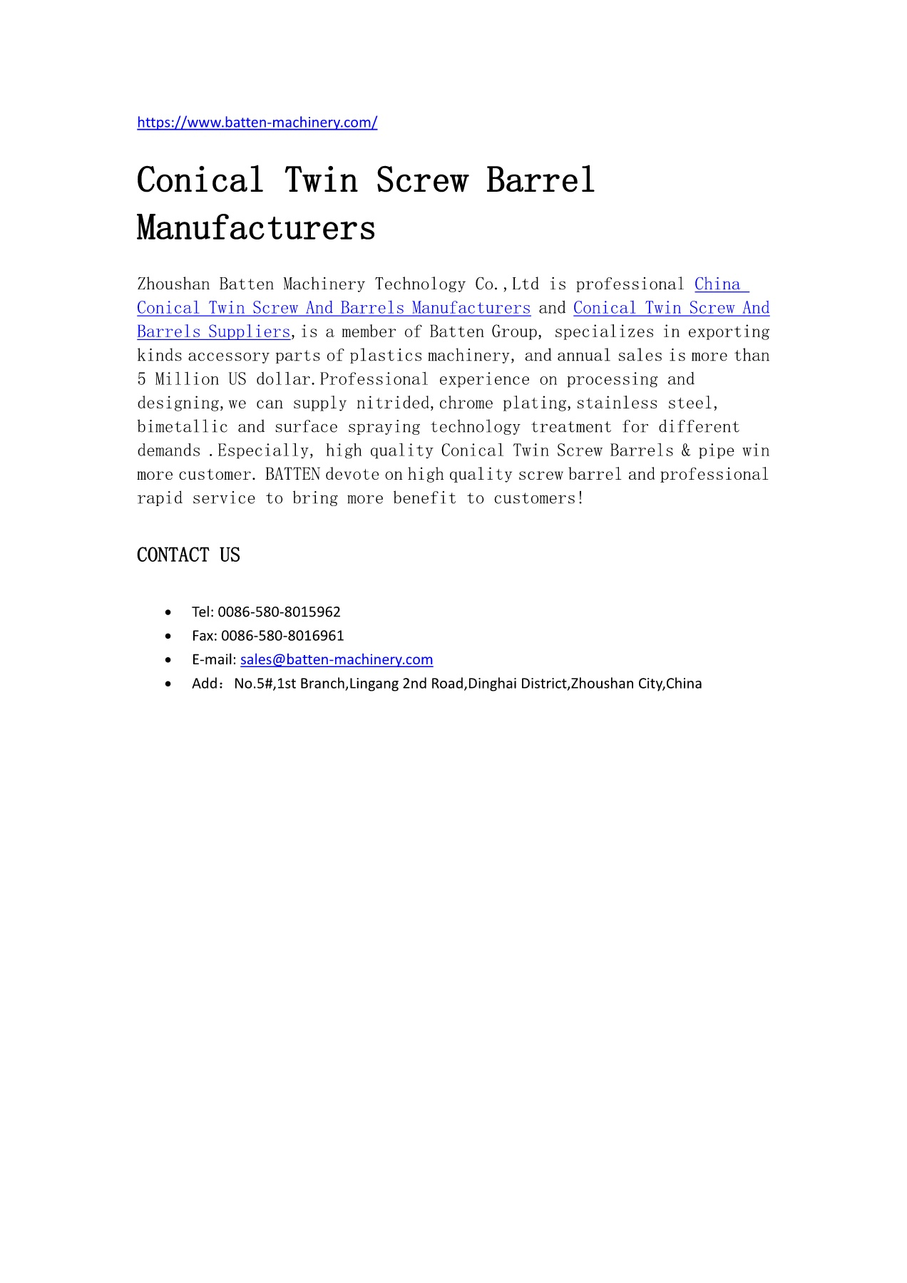 Zhoushan Batten Import and Export Co ,Ltd Pages 1 - 1 - Text Version