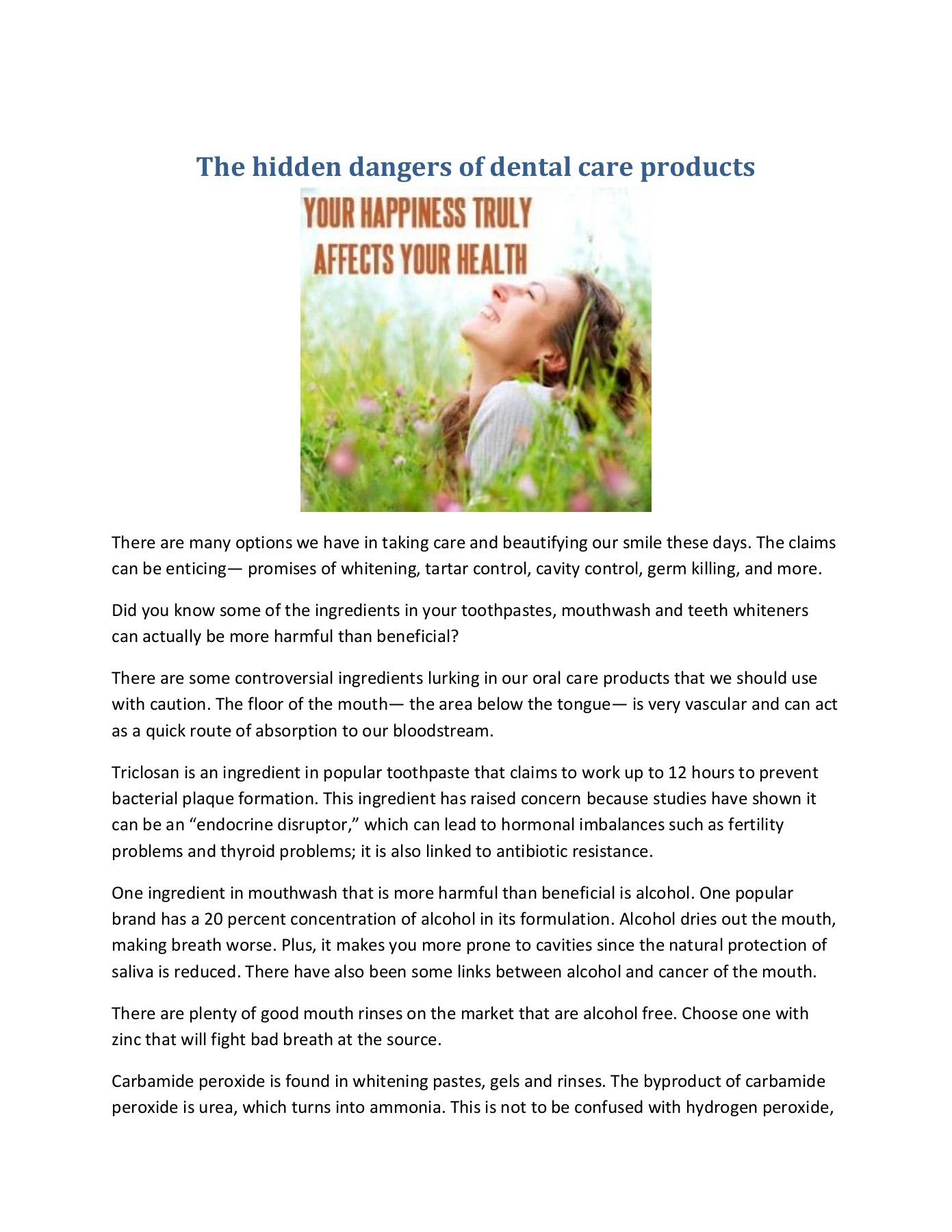 The hidden dangers of dental care products Pages 1 - 2 - Text