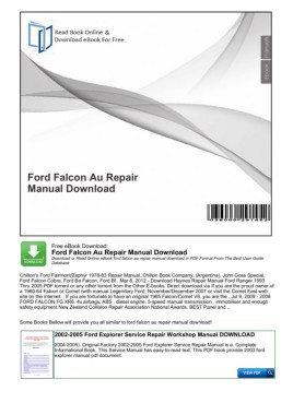 OFFICIAL WORKSHOP MANUAL service repair FOR FORD FALCON 2002-2005 ...