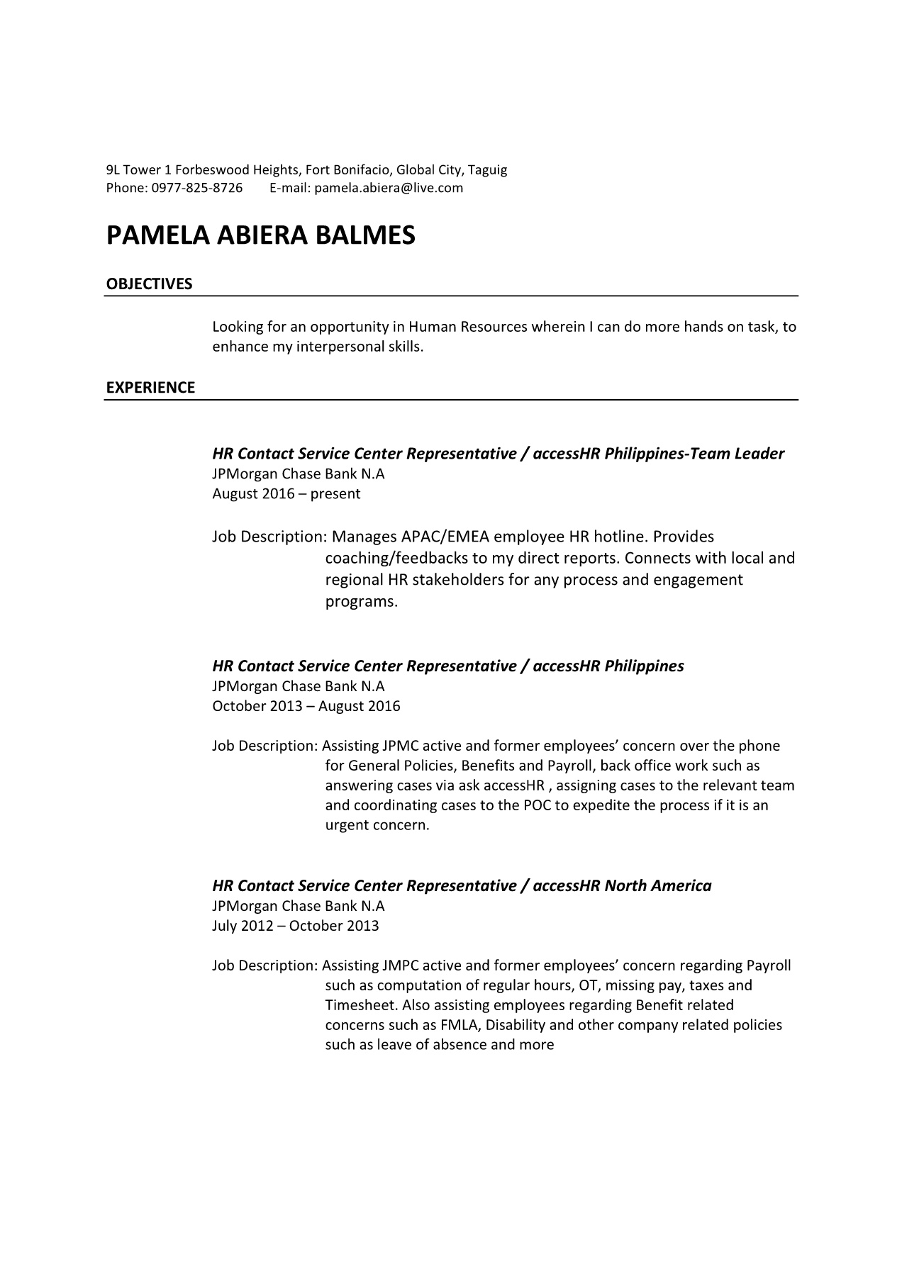 Cover letter and resume BALMES, Pamela - Recruitment Post