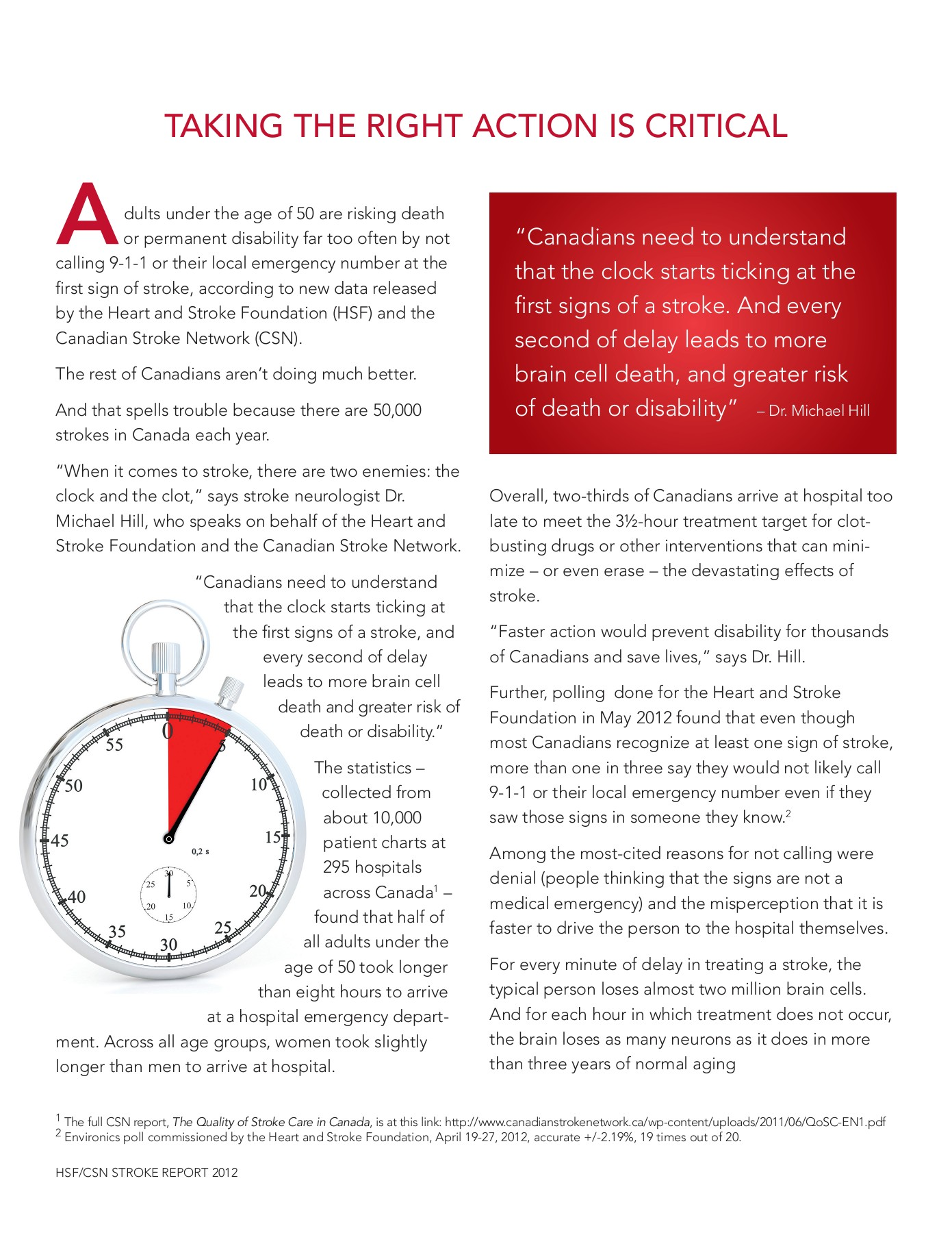 THE CLOCK IS TICKING FOR STROKE PATIENTS Pages 1 - 8 - Text Version