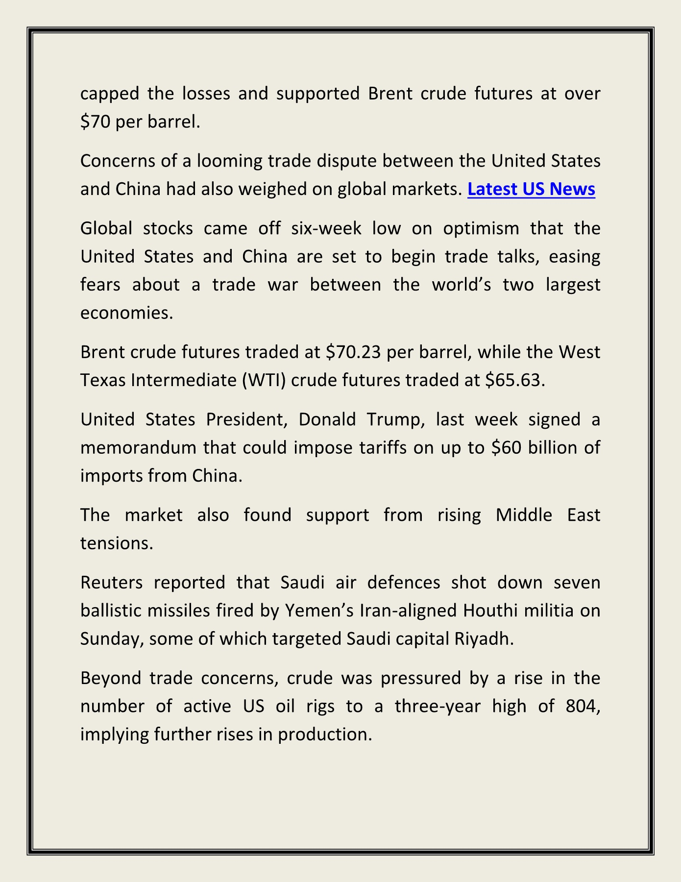 MIDDLE EAST TENSIONS SUPPORT CRUDE OIL PRICE AT $70 PER