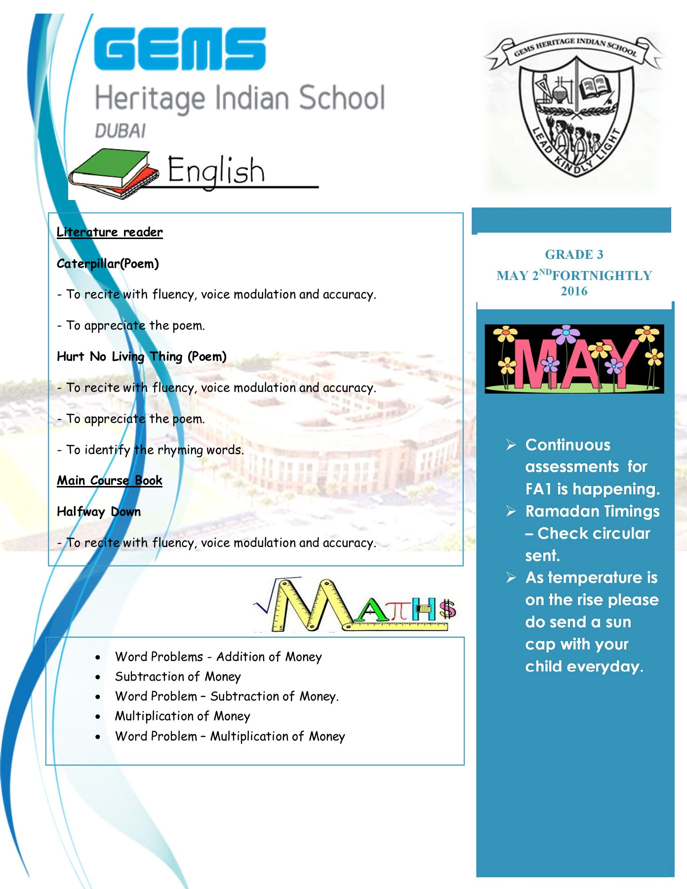May 2nd Fortnightly newsletter Grade 3 Pages 1 - 4 - Text