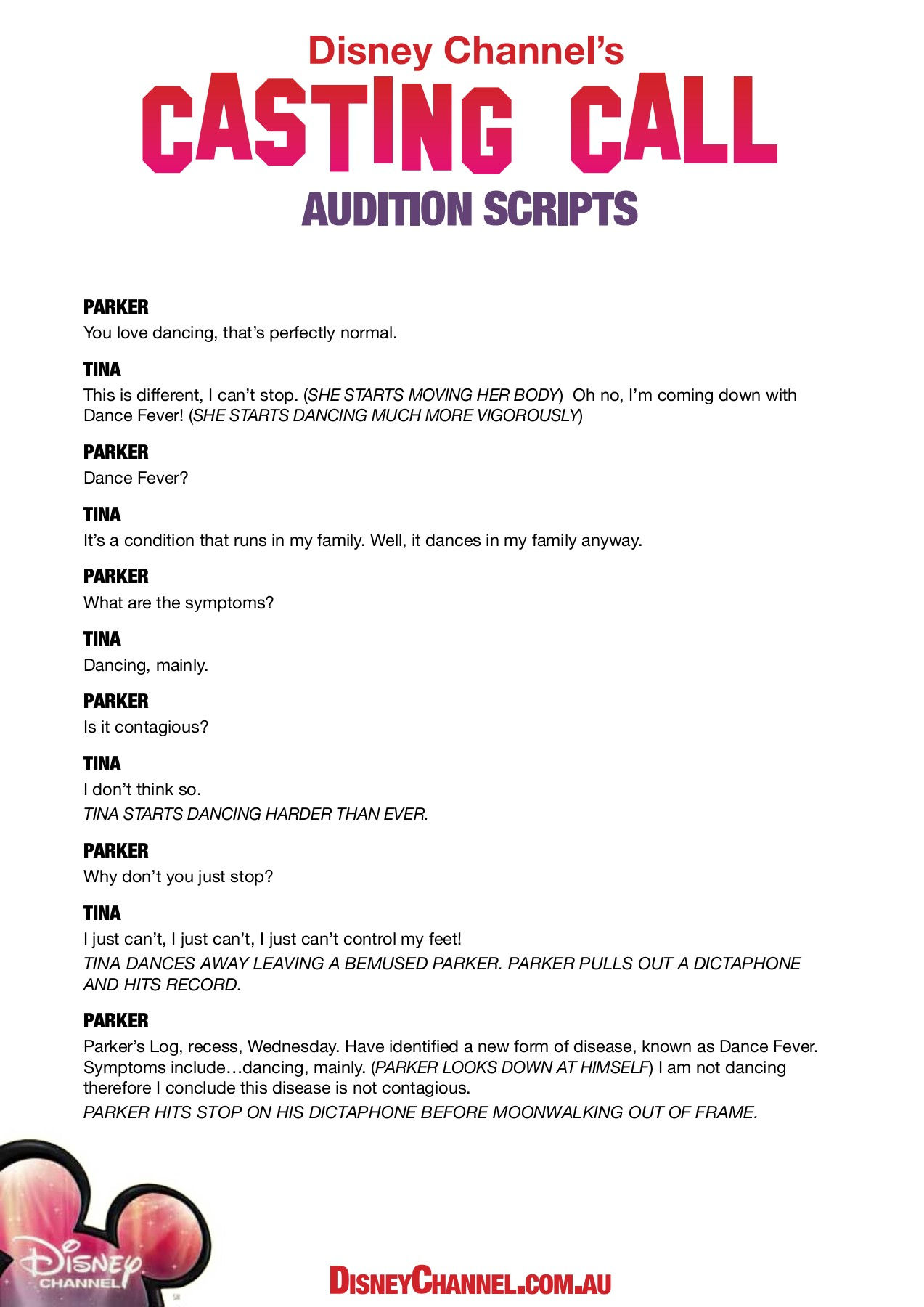 AUDITION SCRIPTS - Disney