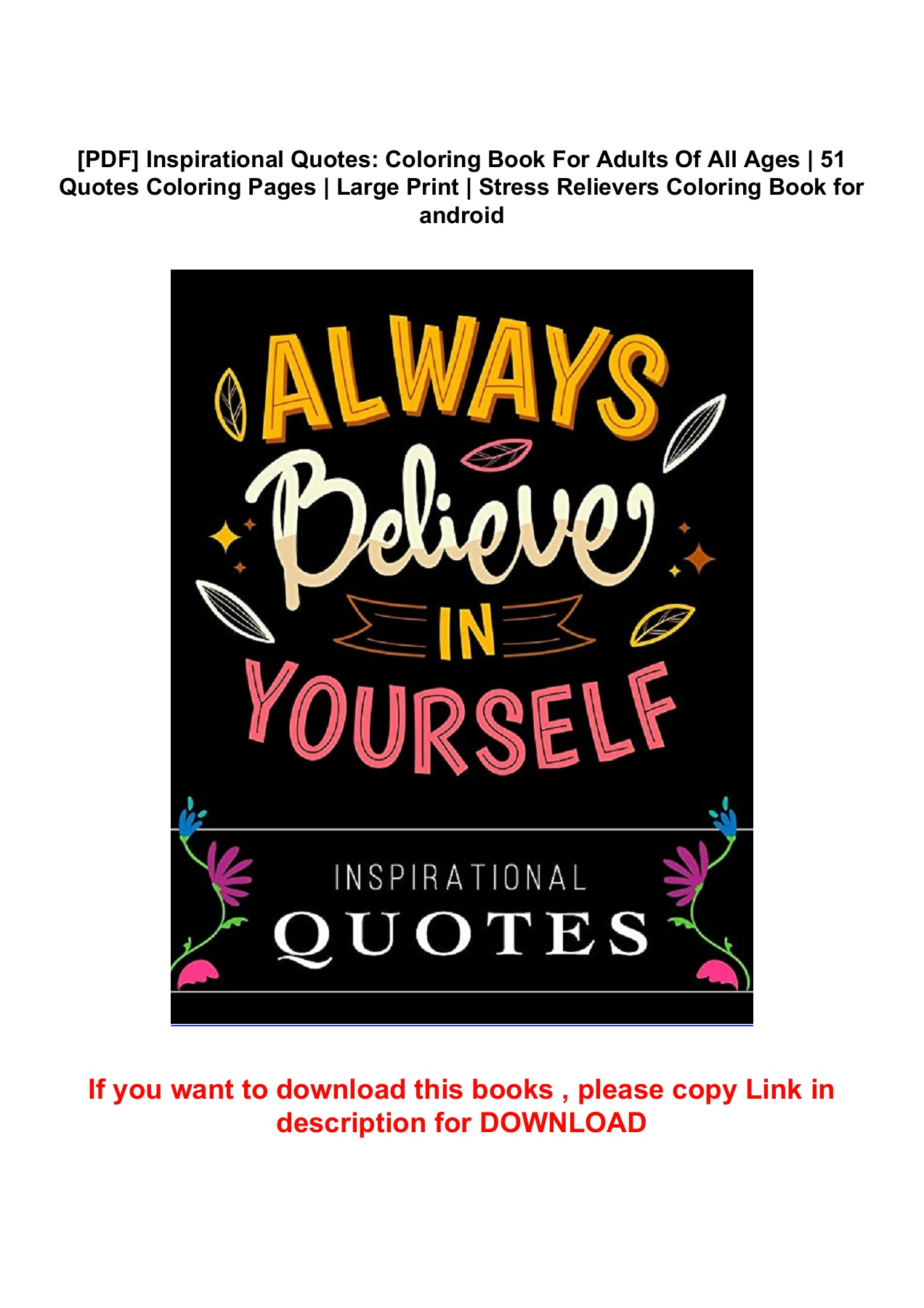 Pdf Inspirational Quotes Coloring Book For Adults Of All Ages 51 Quotes Coloring Pages Large Print Stress Relievers Coloring Book For Android Flip Ebook Pages 1 5 Anyflip Anyflip