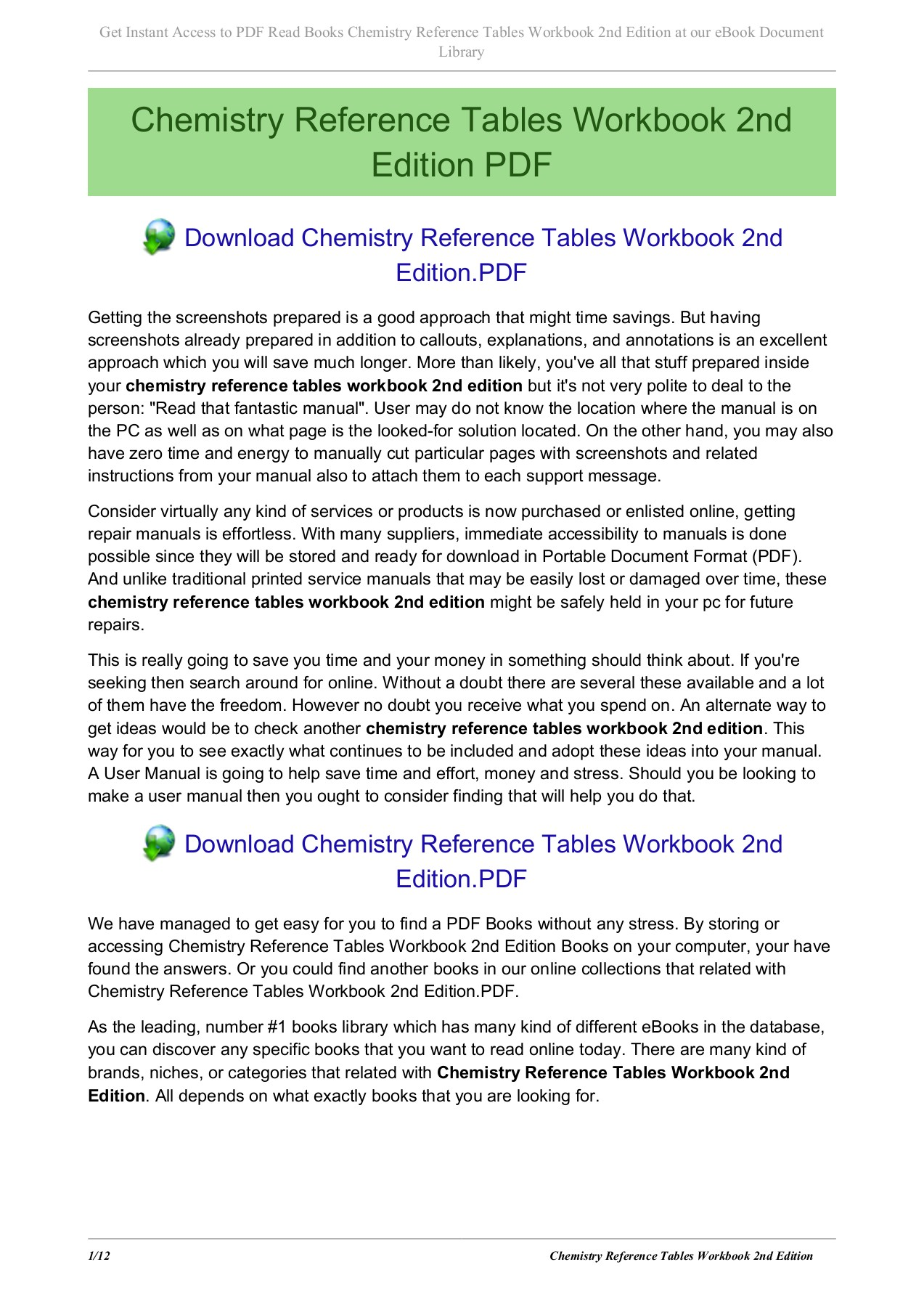Chemistry Reference Tables Workbook 2nd Edition Pages 1 - 12