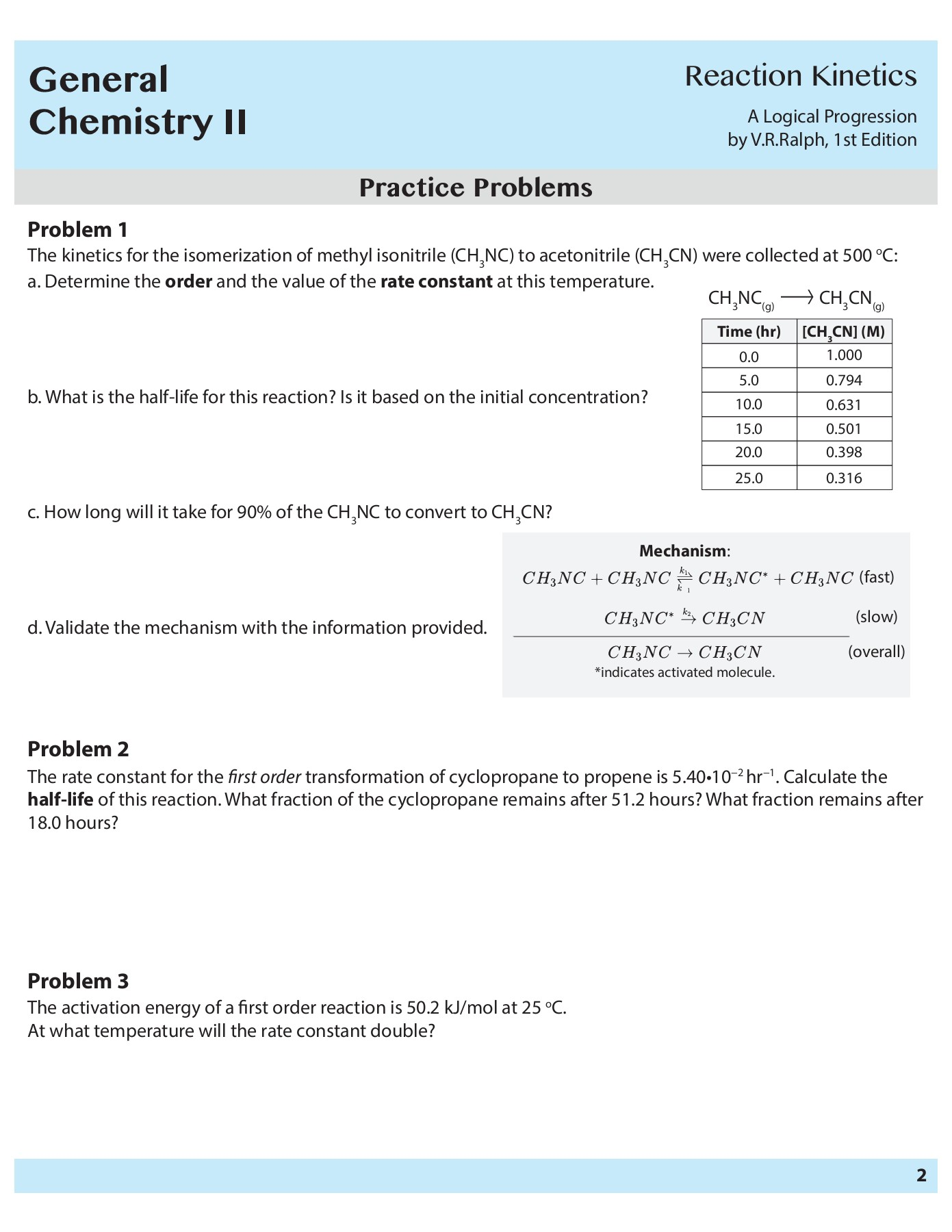 General Chemistry II - Reaction Kinetics Worksheet and ...