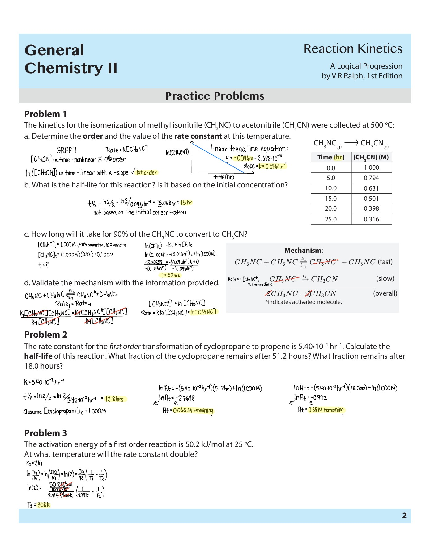 General Chemistry II - Reaction Kinetics Worksheet and Answer Key