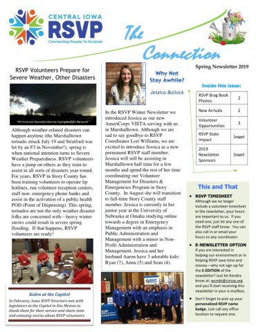 Spring 2019 Newsletter--Story/Marshall Pages 1 - 4 - Text