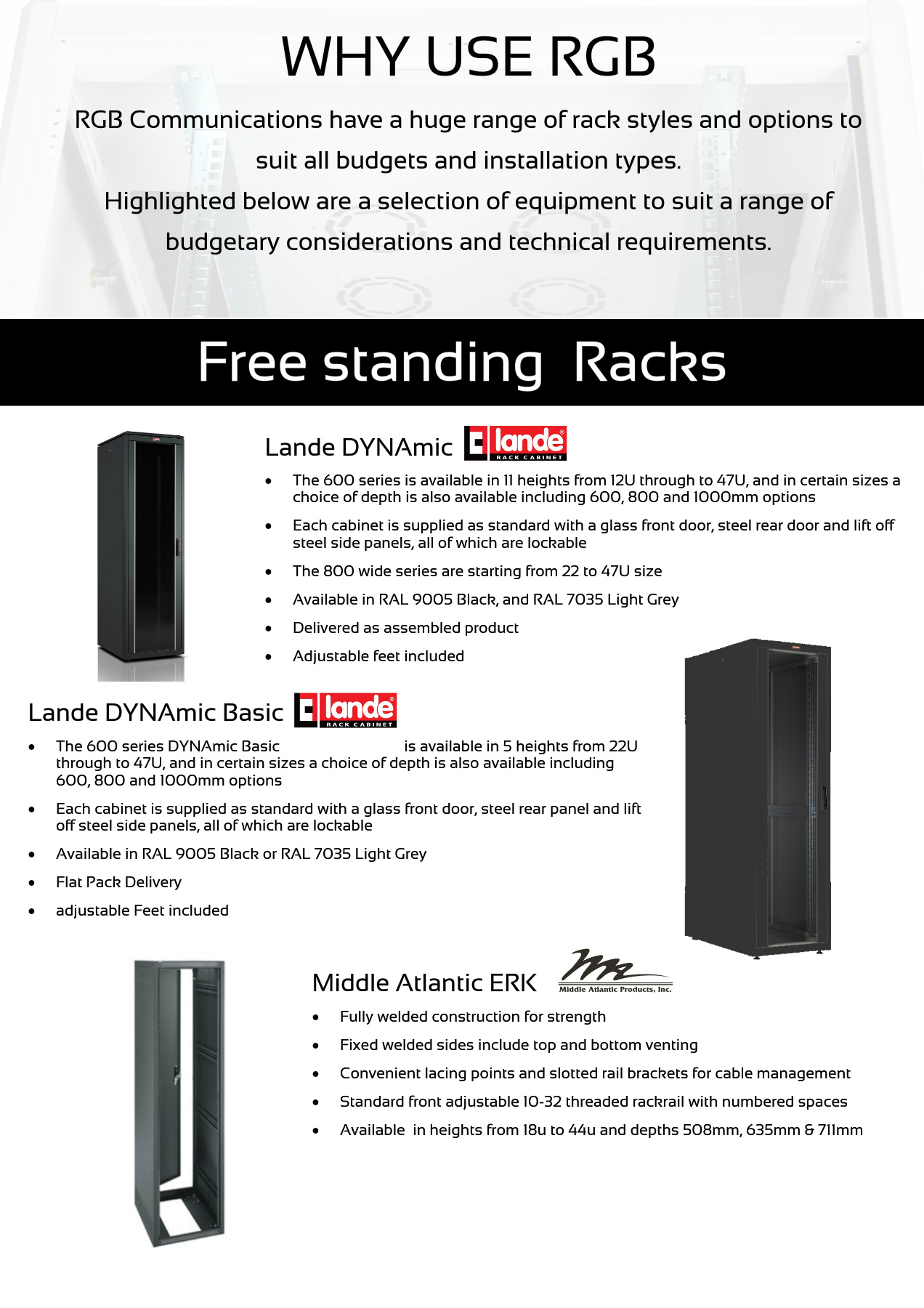 Racks and Power Product Selection Pages 1 - 10 - Text