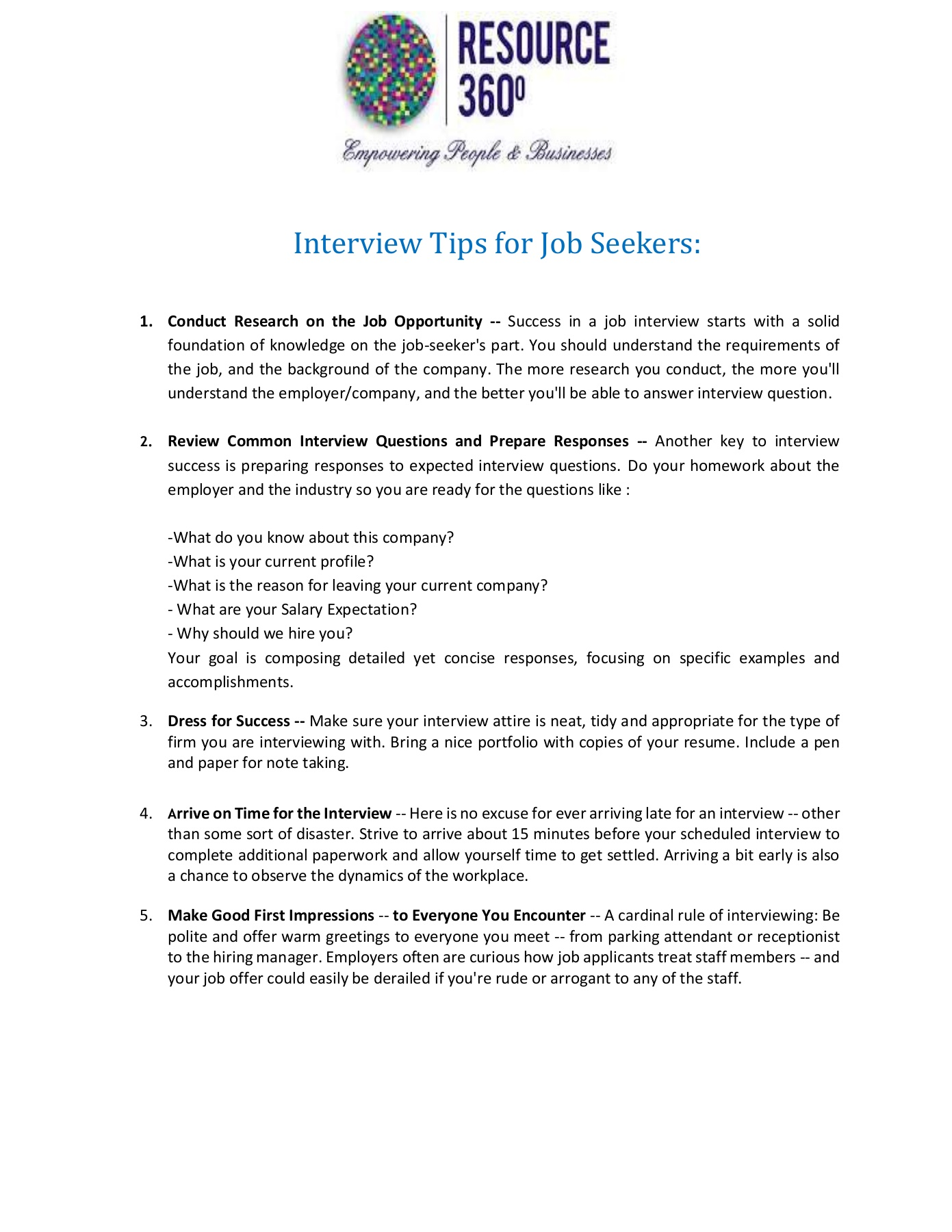 Interview Tips - Resource360HR Pages 1 - 2 - Text Version