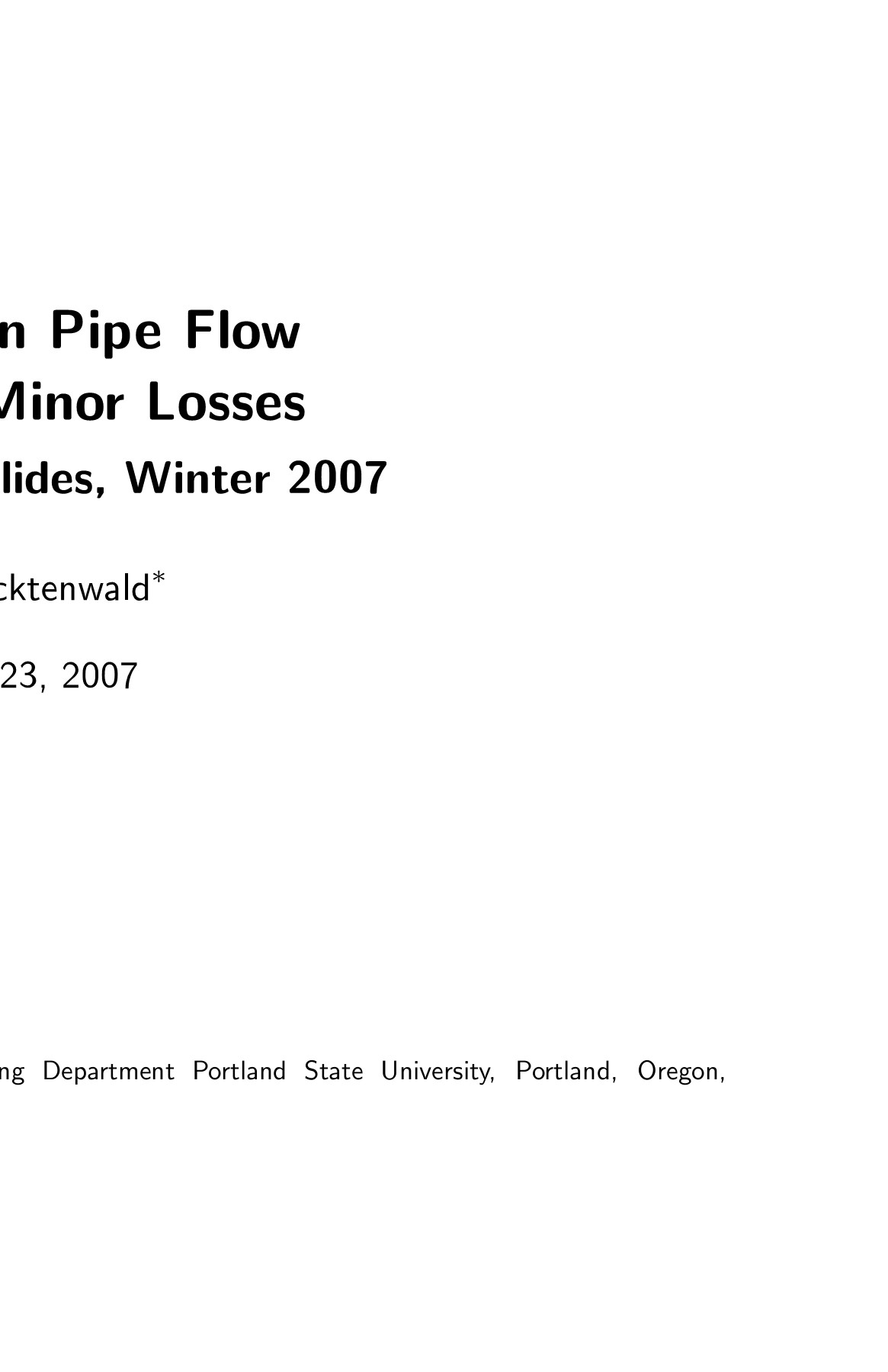 Head Loss in Pipe Flow Major and Minor Losses - TheCAT