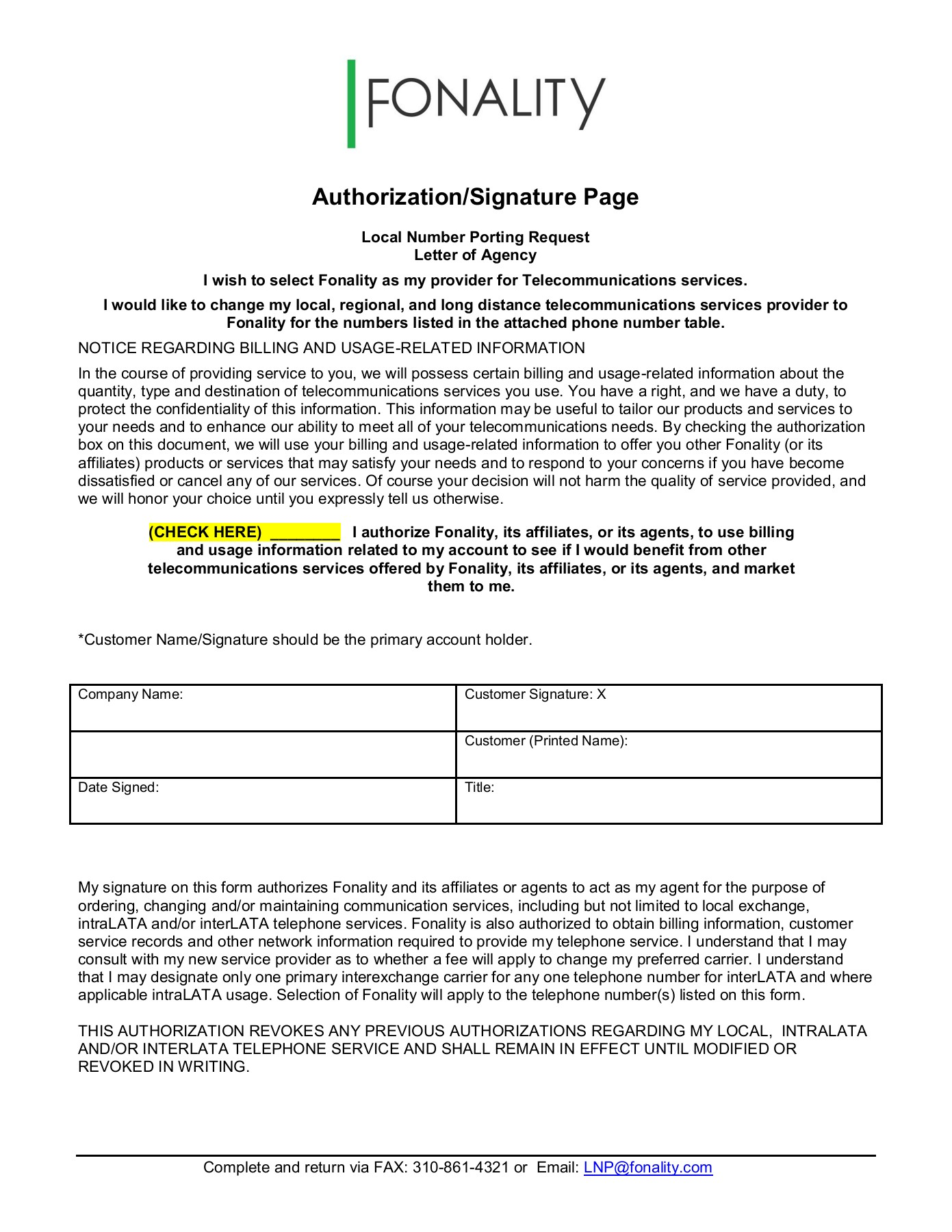 Provide Proof of Ownership of your Telephone numbers  Pages 1 - 4