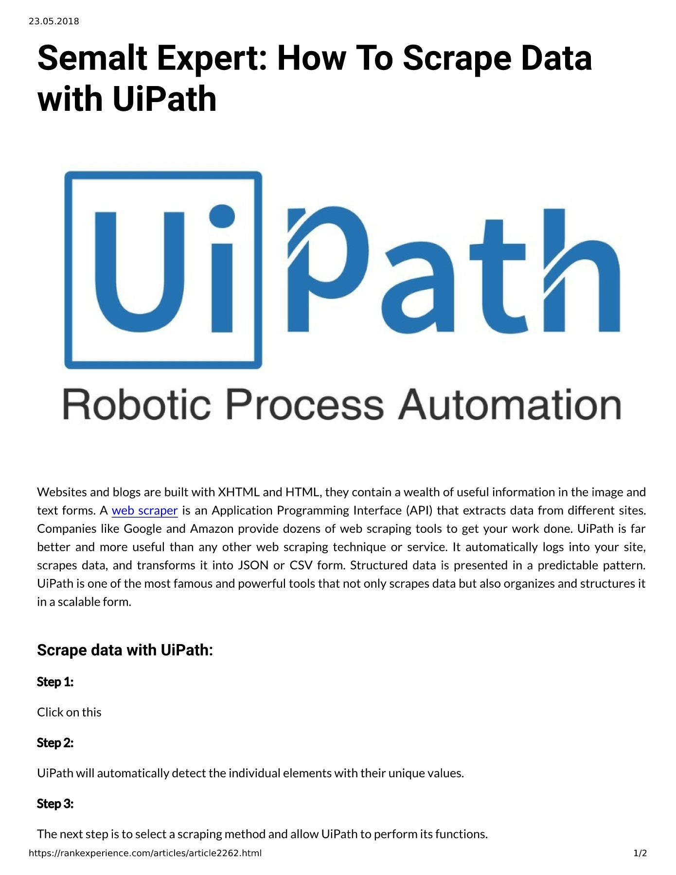 Semalt Expert: How To Scrape Data with UiPath Pages 1 - 2