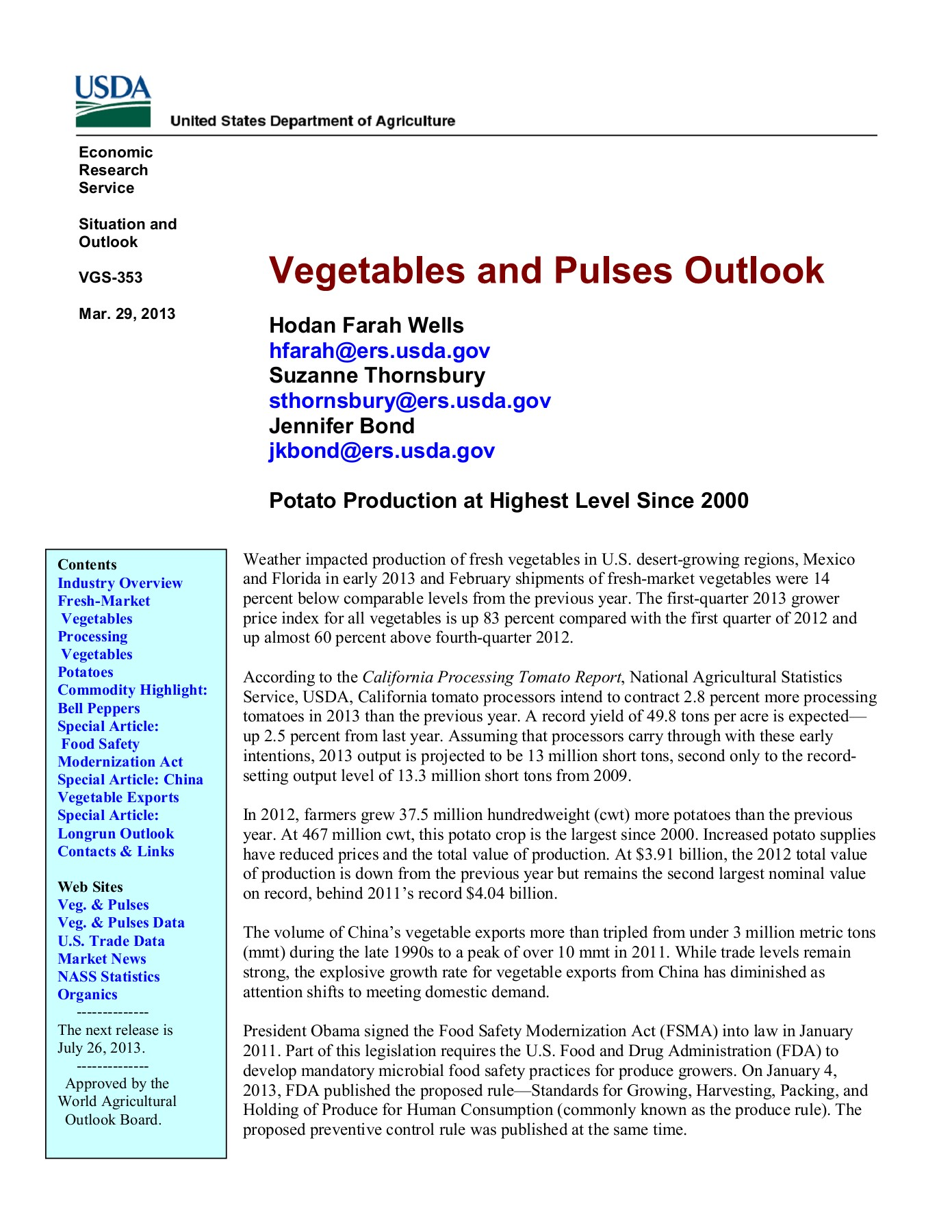 Vegetables and Pulses Outlook (VGS-353) Pages 1 - 45 - Text