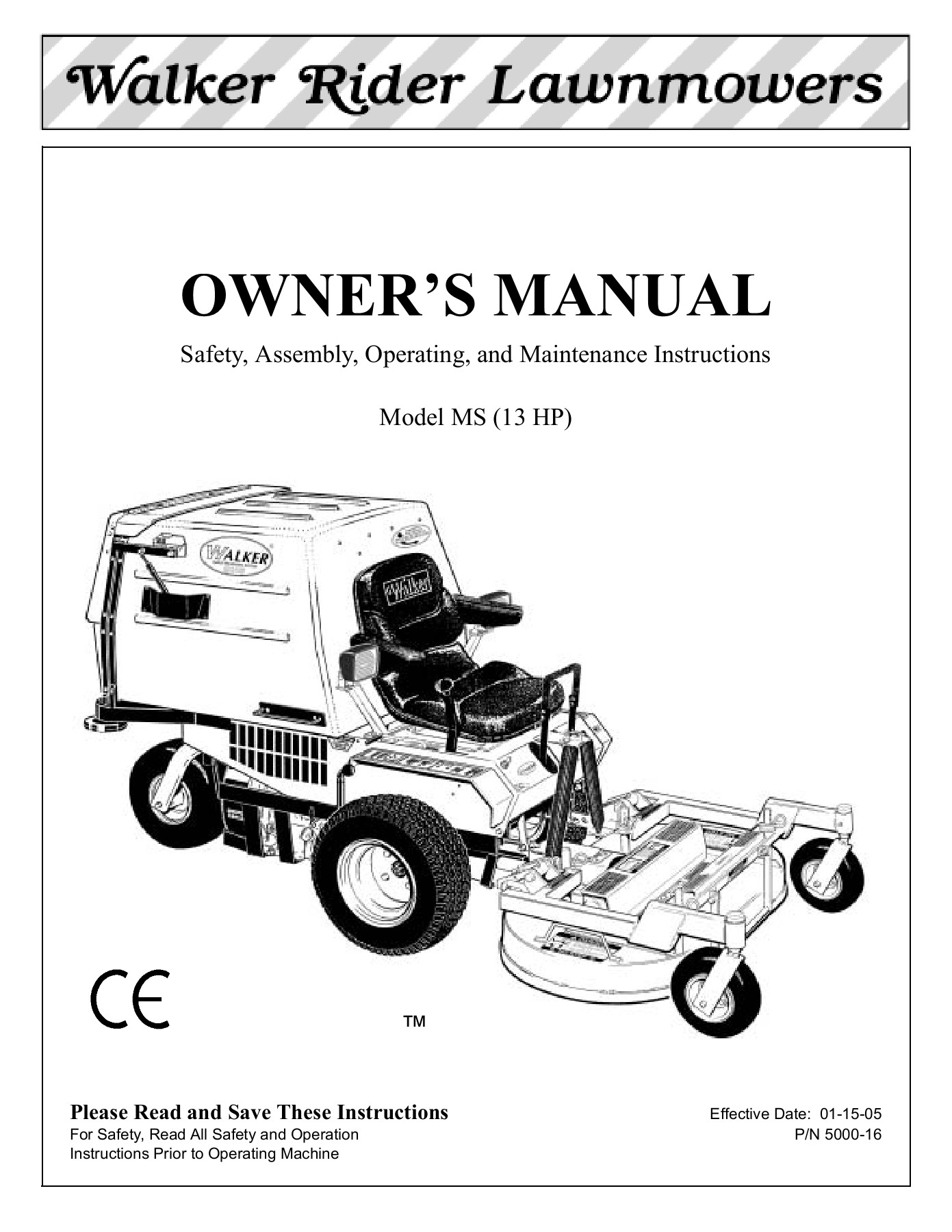 OWNER'S MANUAL - Walker Manufacturing Pages 51 - 72 - Text