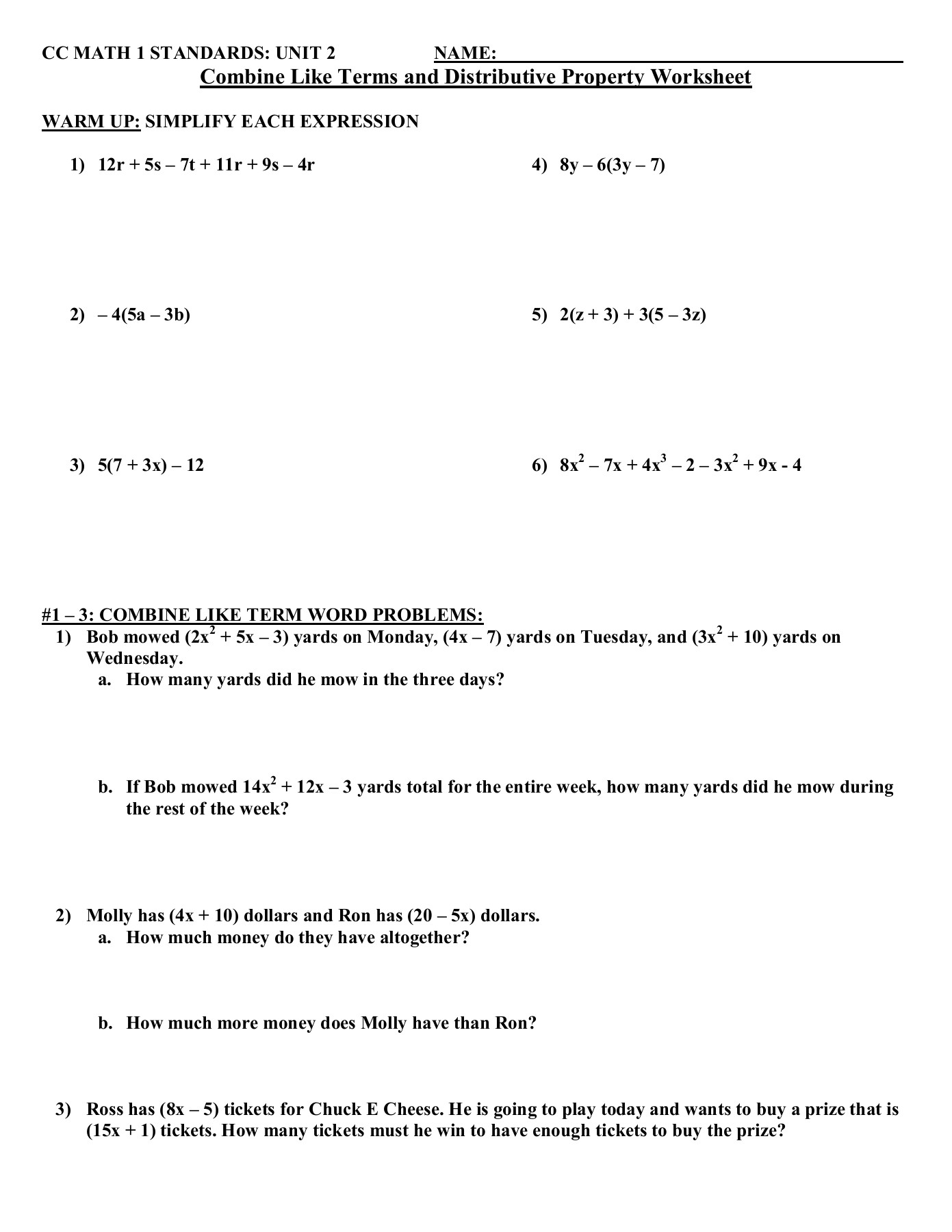 Distributive Property And  bining Like Terms Worksheet additionally bining Like Terms Equations Worksheet Solving Equations  bining further Algeic Expression Worksheet With Answers  bining Like Terms furthermore  further bining Like Terms Worksheet Pre Alge Like Terms Worksheet furthermore Distributive Property Worksheets 7th Grade Related Post Pdf also bining Like Terms Worksheet Grade Activities Distributive further CC MATH 1 STANDARDS  UNIT 2 NAME   bine Like Terms and     Pages likewise bine Like Terms Worksheet Version 1 Answer Key   Pegitboard further worksheets  bining like terms   blahblah   Pegitboard besides bining Like Terms Worksheet Pre Alge Free Alge Worksheets further bining like terms quiz – healthyregardshayley together with Distributive Property And  bining Like Terms Worksheets also bining Like Terms Quiz Picture Algeic Expressions  bining in addition Contemporary Equations Distributive Property Worksheet Illustration also bine Like Terms  bining Like Terms School Yourself Alge. on combining like terms worksheet answers
