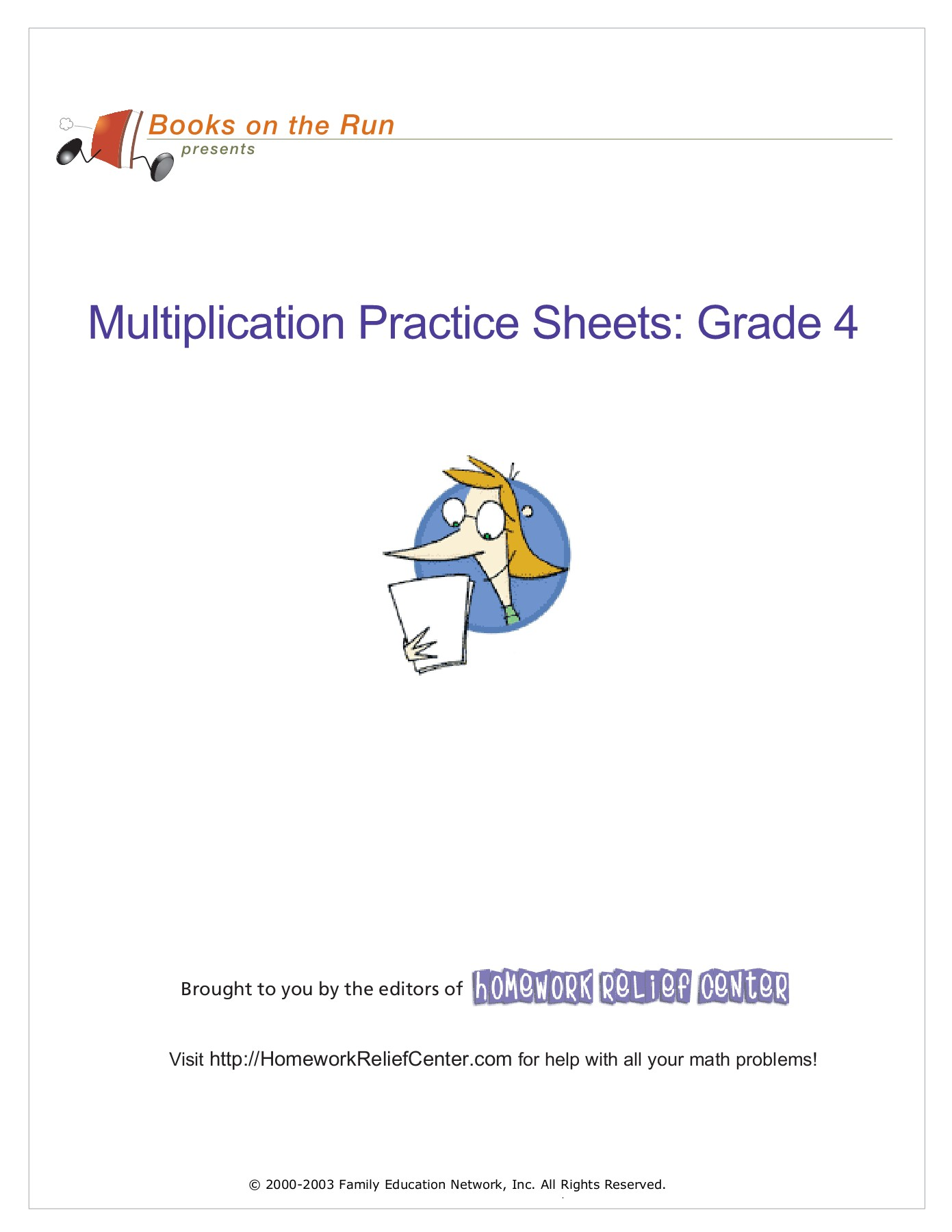 Multiplication Practice Sheets: Grade 4 Pages 1 - 50 - Text ...