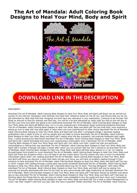 Pdf Download The Art Of Mandala Adult Coloring Book Designs To Heal Your Mind Body And Spirit Unlimited