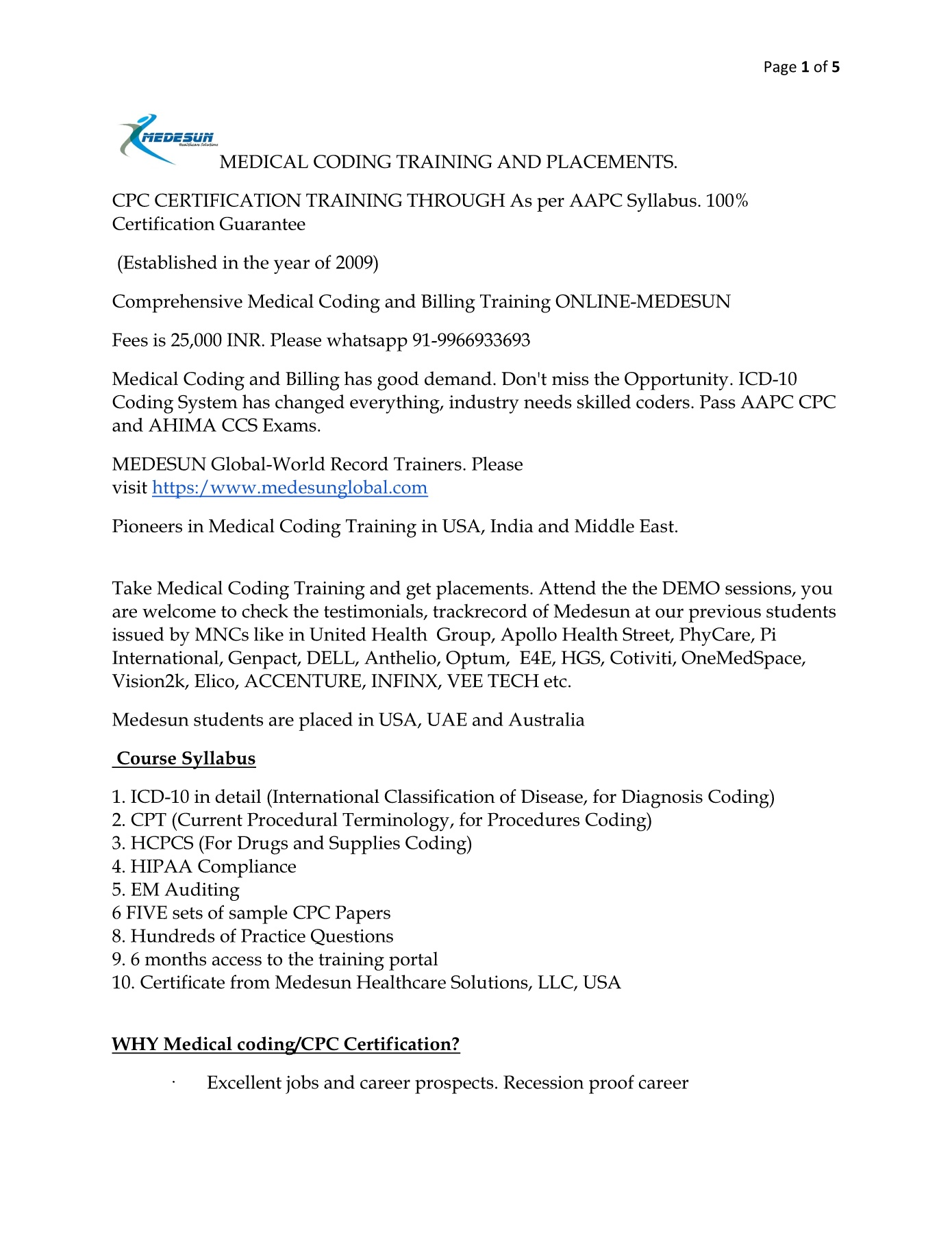 Medical Coding Training Online Pages 1 5 Text Version