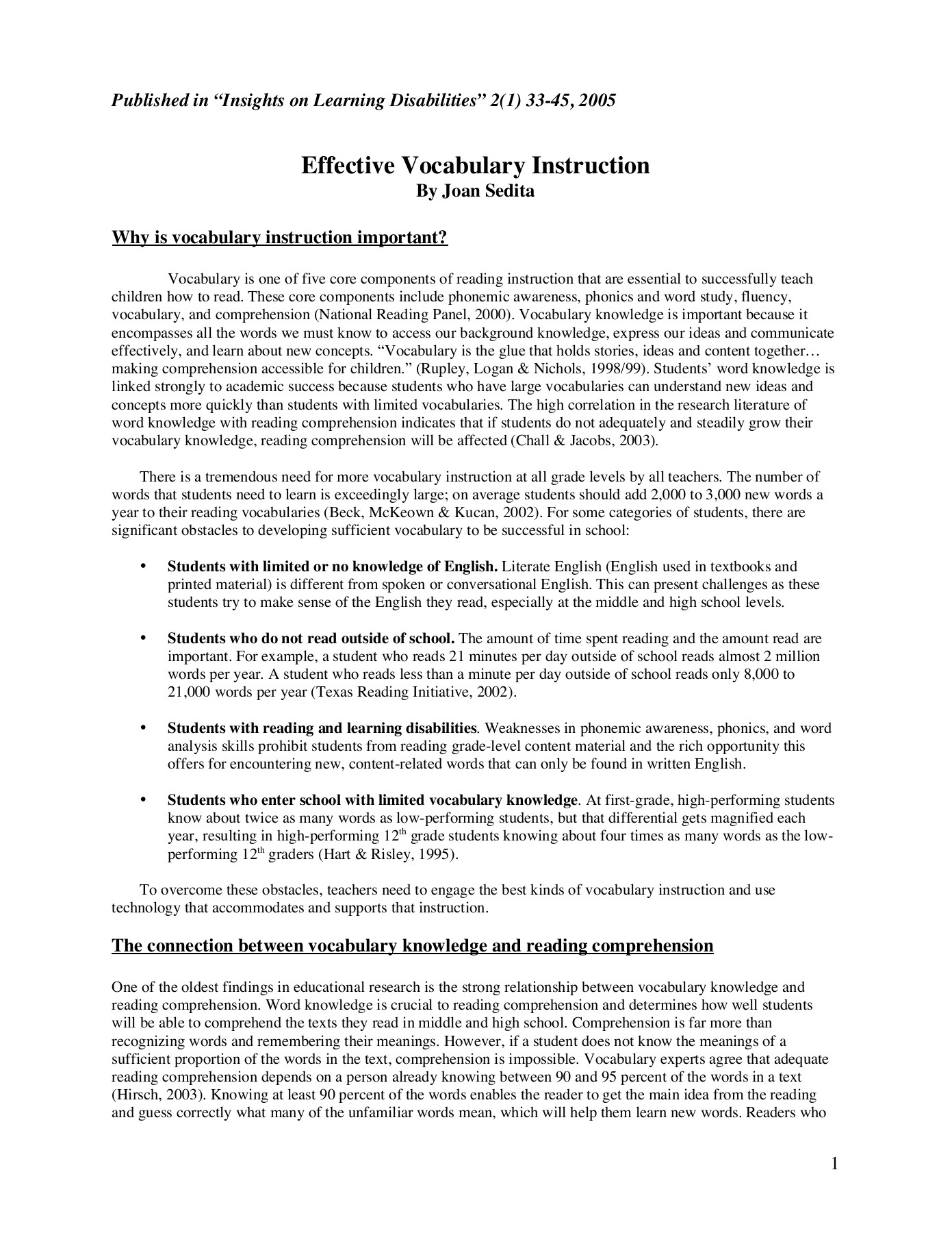 Effective Vocabulary Instruction - Keys to Literacy Pages 1
