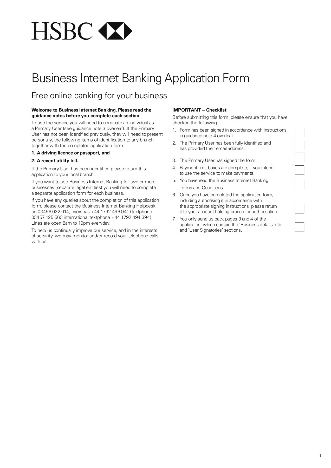 Business Internet Banking Application Form - HSBC Bank Pages 1 - 8