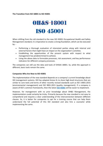 An Introduction to New ISO 45001- Occupational Health and