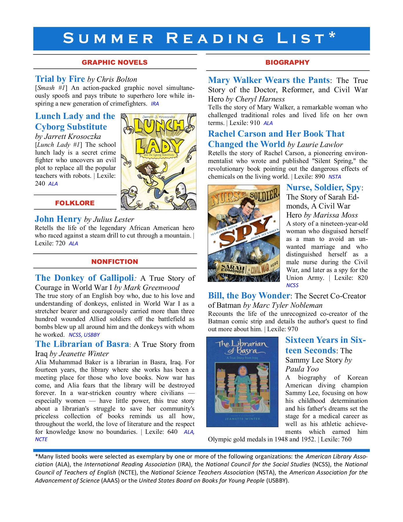 Grade 3 4 Summer Reading List Governor S Challenge Pages 1