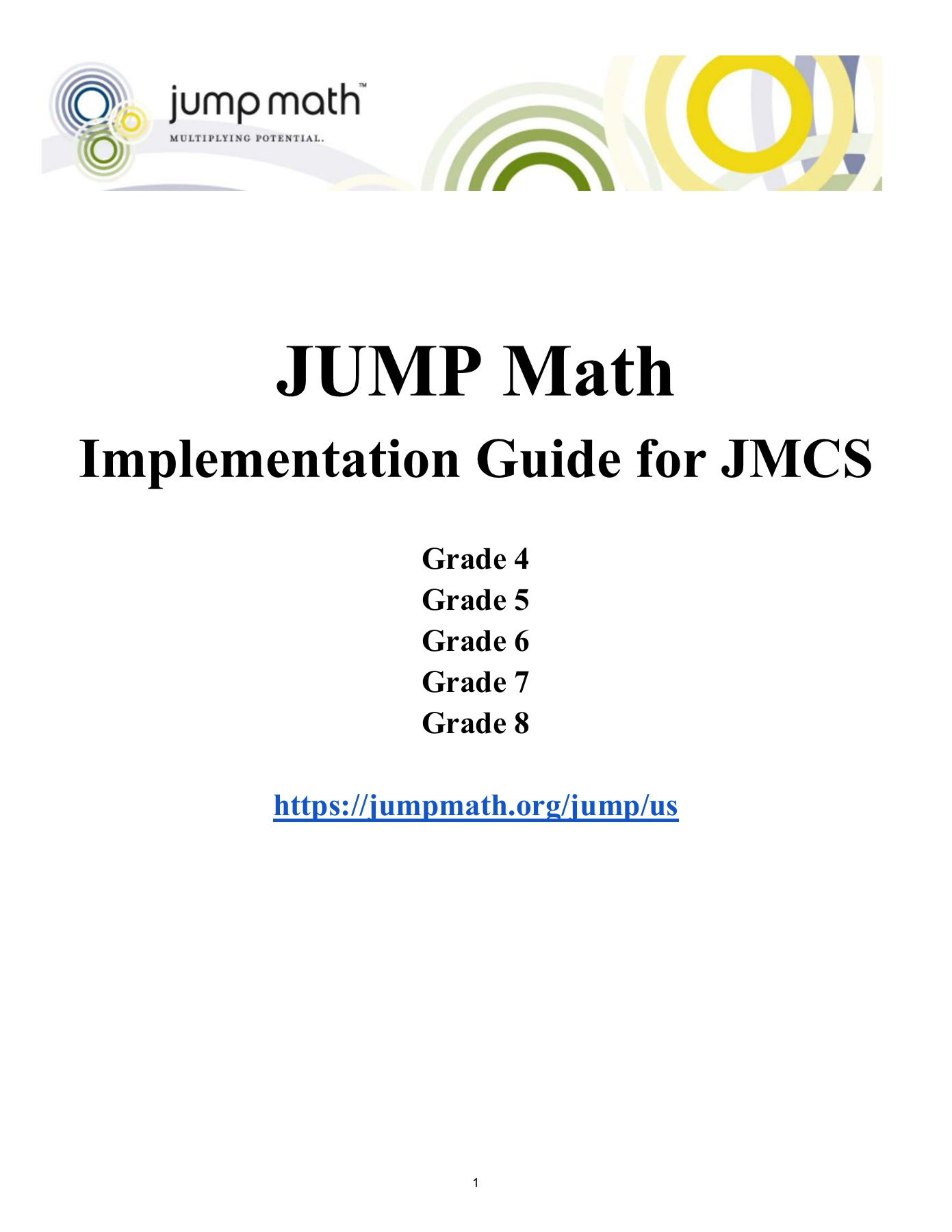 JUMP Math Implementation Guide Pages 1 - 29 - Text Version
