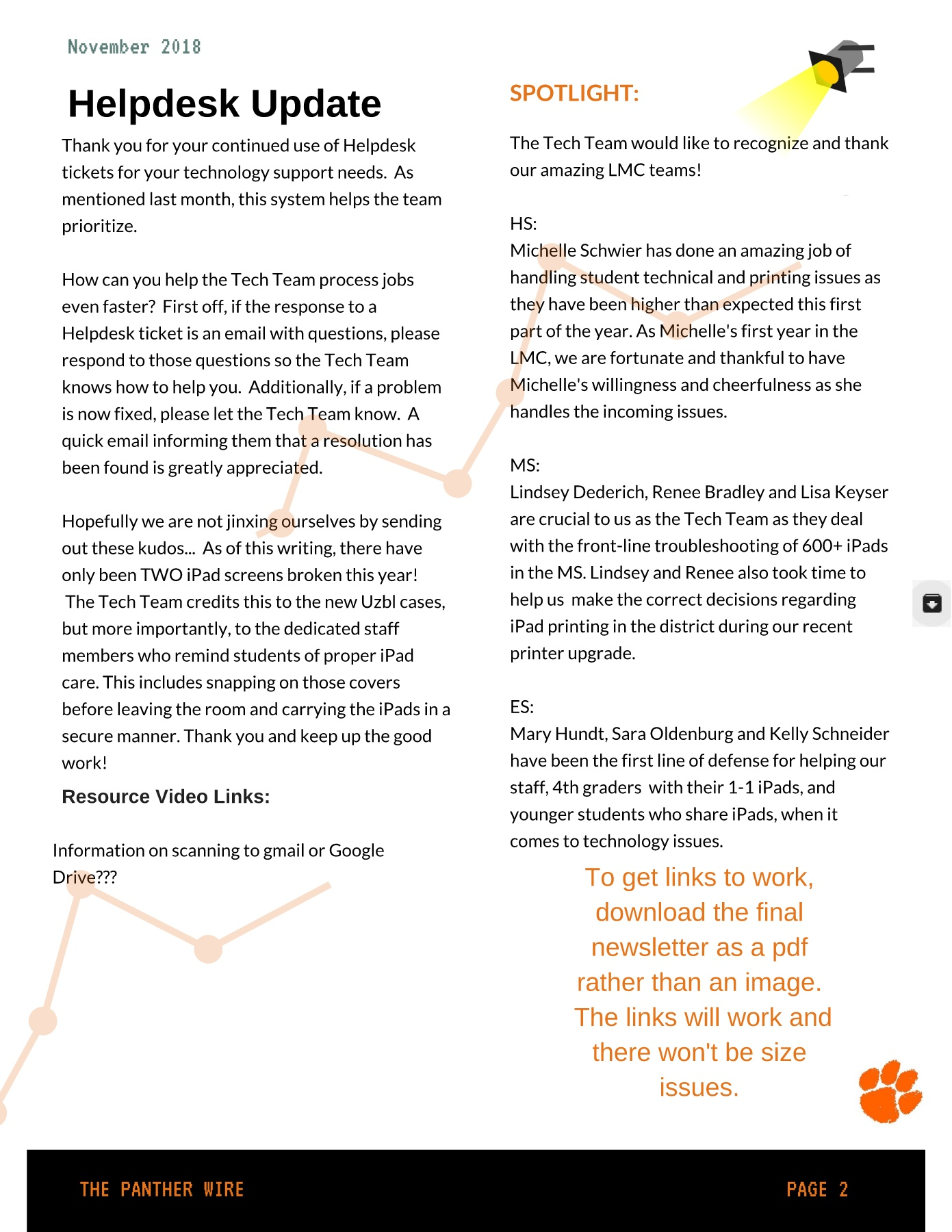Nov 2018 - The Panther Wire Pages 1 - 4 - Text Version | AnyFlip