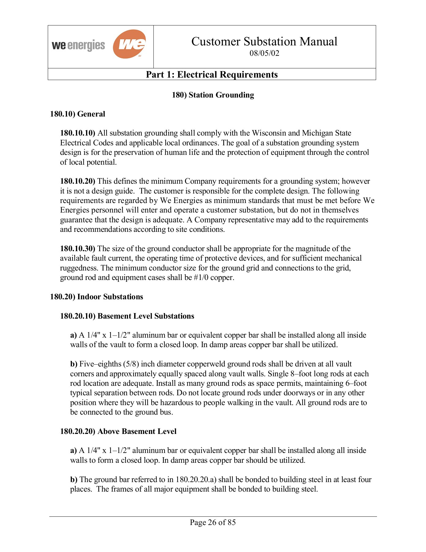 Part 1: Electrical Requirements - We Energies Pages 1 - 4