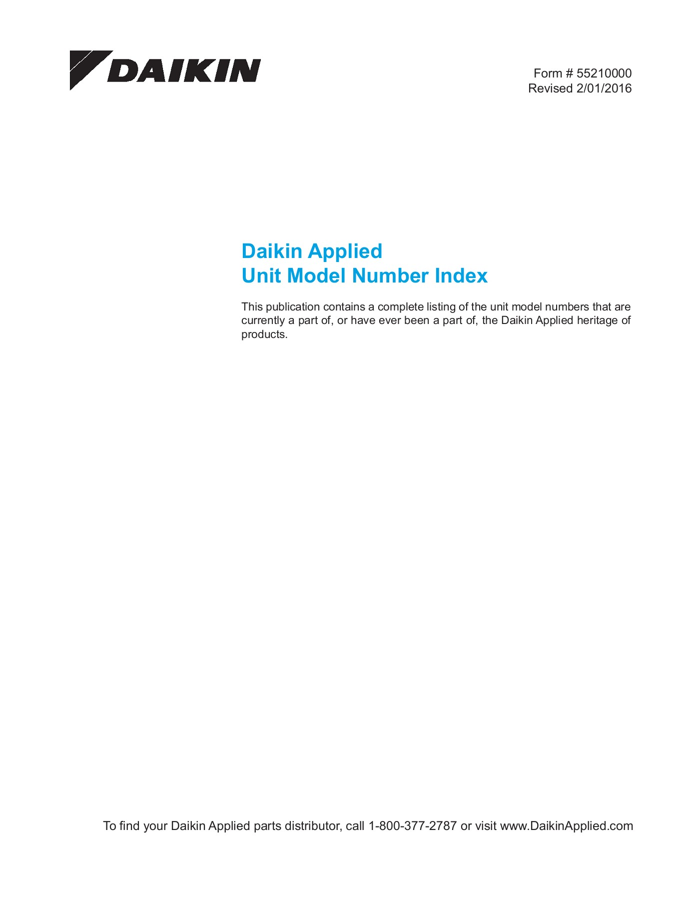 Daikin Applied Unit Model Number Index Pages 1 - 50 - Text