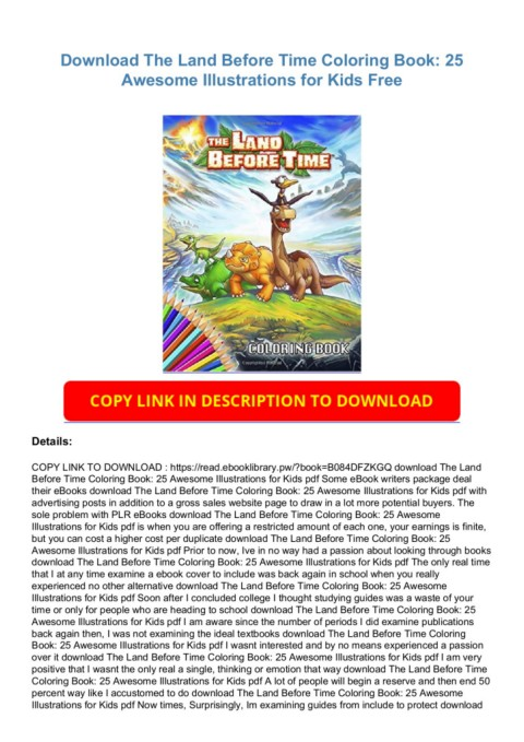Download The Land Before Time Coloring Book: 25 Awesome Illustrations For  Kids Free