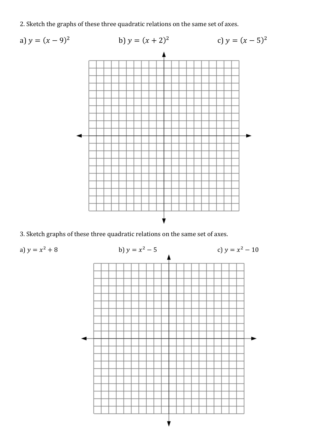 43transformationsofparabolasworksheet1 Mpm2d