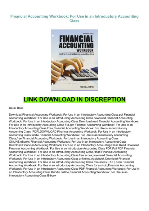 download (PDF) Financial Accounting Workbook: For Use in an Introductory Accounting  Class for ipad