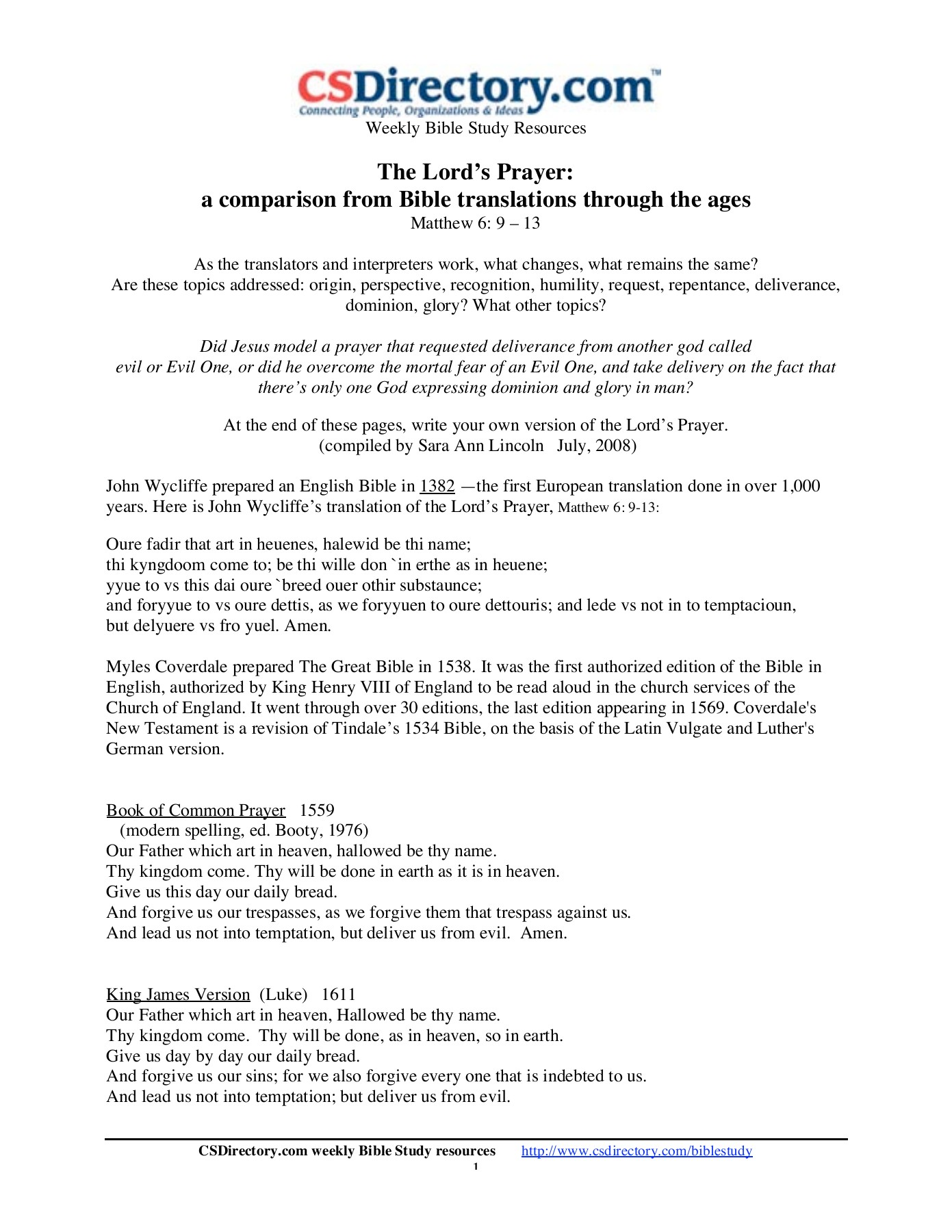 The Lord's Prayer: a comparison from Bible translations     Pages 1