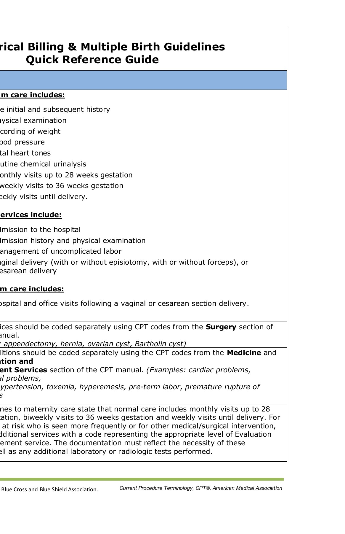 Obstetrical Billing Guidelines - Blue Cross and    Pages 1