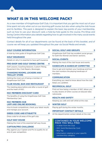 Welcome to Kingsthorpe Golf Club Pages 1 - 8 - Text Version